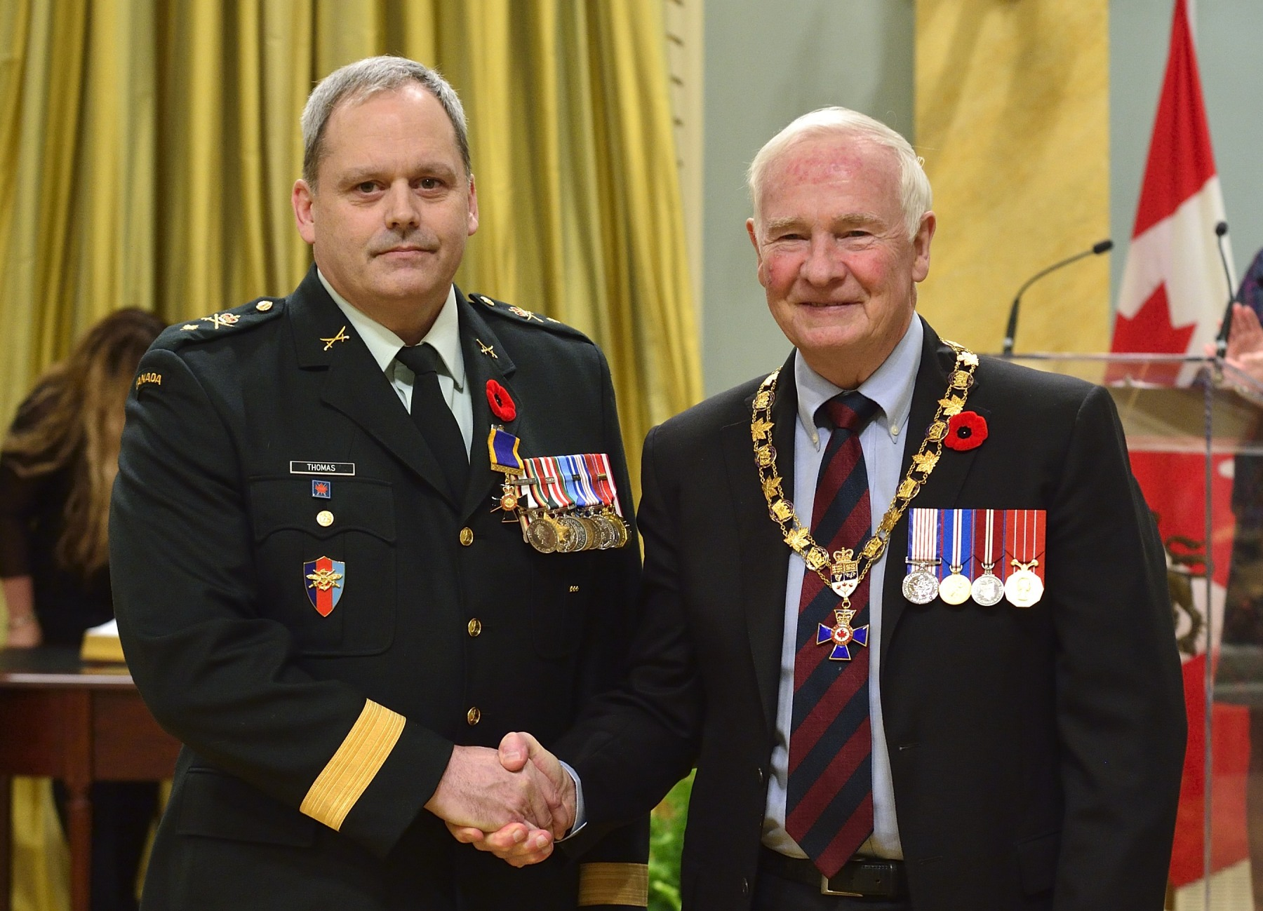 His Excellency presented the Order of Military Merit at the Officer level (O.M.M.) to Brigadier-General Lowell Thomas, O.M.M., C.D., Canadian Manoeuvre Training Centre, Denwood, Alta.