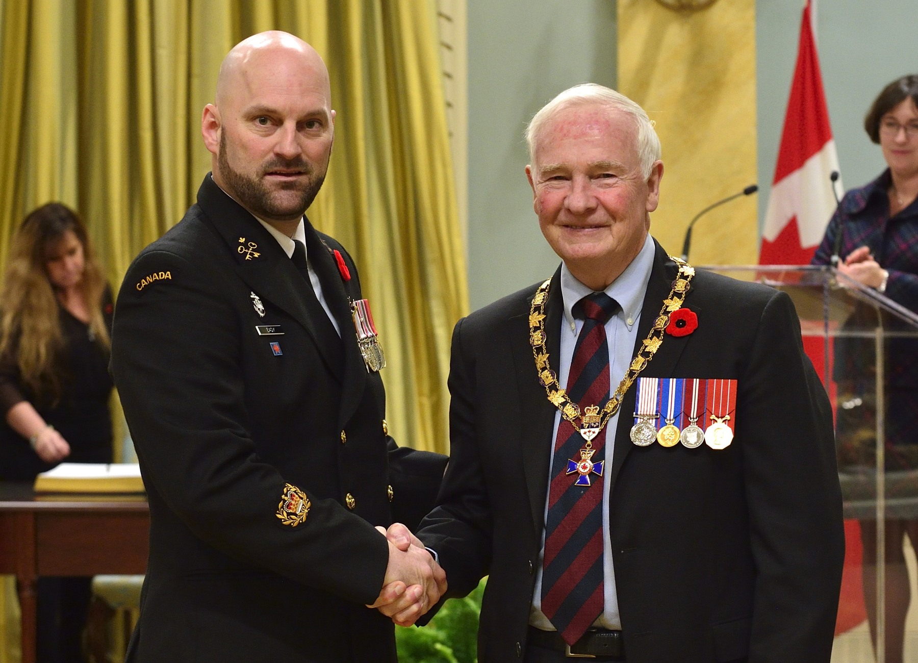 His Excellency presented the Order of Military Merit at the Member level (M.M.M.) to Chief Petty Officer 2nd Class Barry Eady, M.M.M., C.D., Her Majesty's Canadian Ship St. John's, Halifax, N.S.