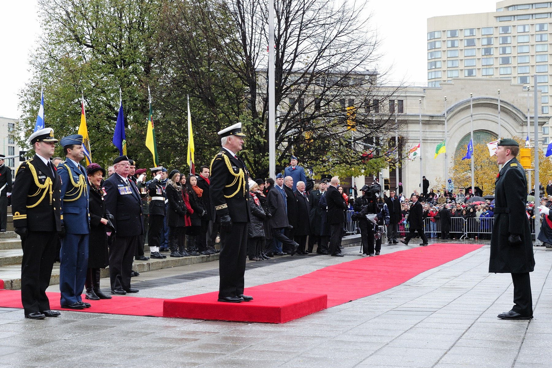 Upon his arrival at the National War Memorial, in Ottawa, His Excellency received a vice-regal salute