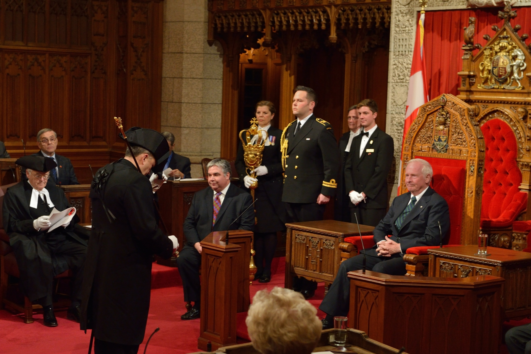 Royal Assent can be granted either at a ceremony in the Senate chamber held in the presence of both Houses, or by written declaration that is announced in both Houses.