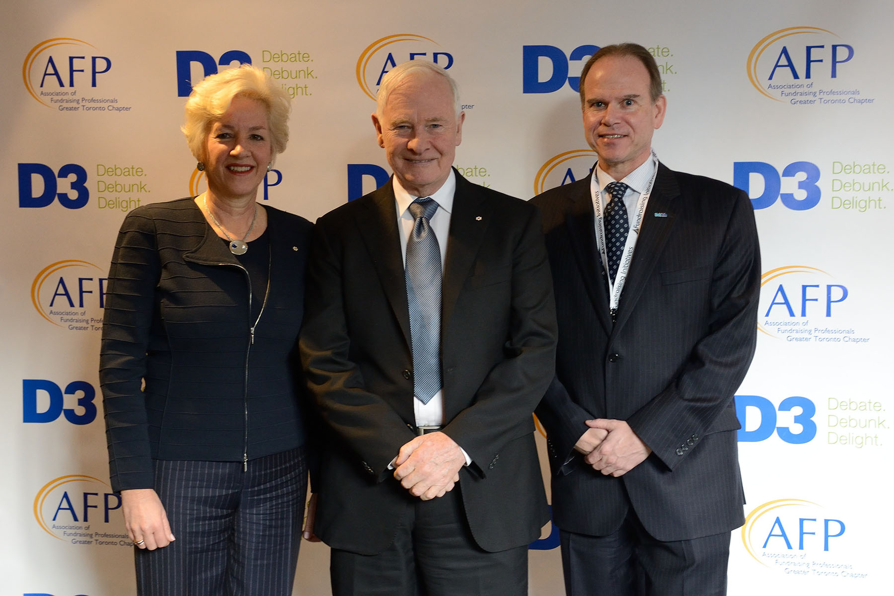 The Governor General is pictured with the Co-Chairs of the D3 Ladership Conference, Annette Verschuren, Chair and CEO of NRStor Inc. (left), and Ted Garrard, President and CEO of SickKids Foundation (right).