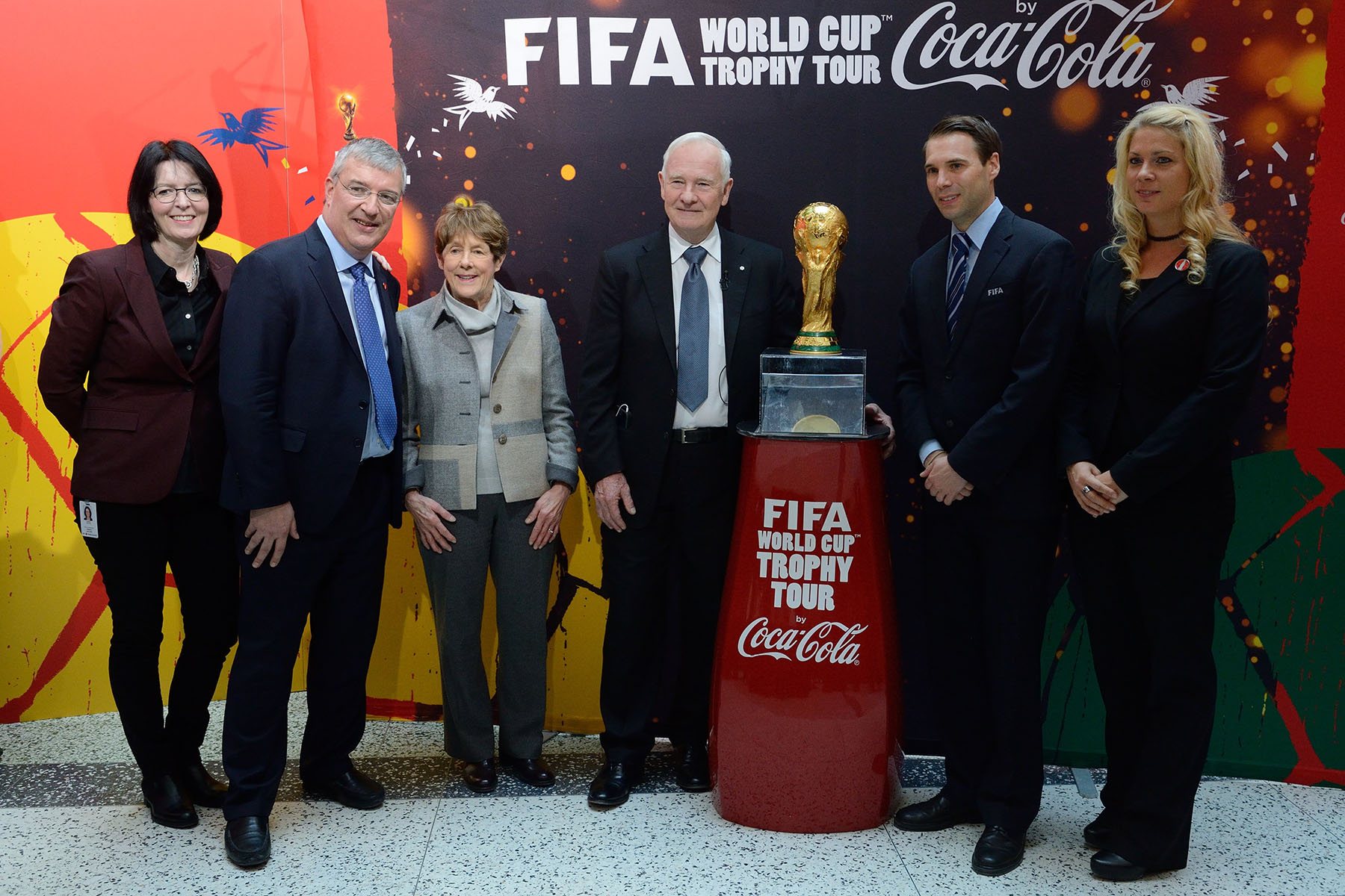 Their Excellencies are pictured with (from left to right): Heather Conway, CBC Executive Vice-President of English Services, Nicola Kettlitz, President, Canada Business Unit of the Coca-Cola Company, and FIFA representatives.