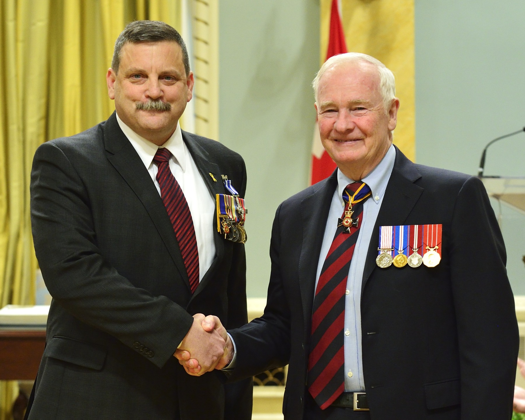His Excellency presented 35 Meritorious Service Decorations (Military Division) to members of the Canadian Armed Forces and allied forces. Brigadier-General Kenneth André Corbould, O.M.M., M.S.C., C.D. (St. Albert, Alberta) received the Meritorious Service Cross. As deputy commander of Regional Command (South) Headquarters from October 2010 to October 2011, Brigadier-General Corbould demonstrated leadership, combat-tested experience and a result-focused approach that significantly contributed to the success of the international military campaign in southern Afghanistan.  Working within a diverse battle space and across multiple lines of operations, he created a clear and direct path for his organization to move forward. Brigadier-General Corbould's efforts were critical to multinational success in Afghanistan, highlighting Canada's role in bringing stability to the country.