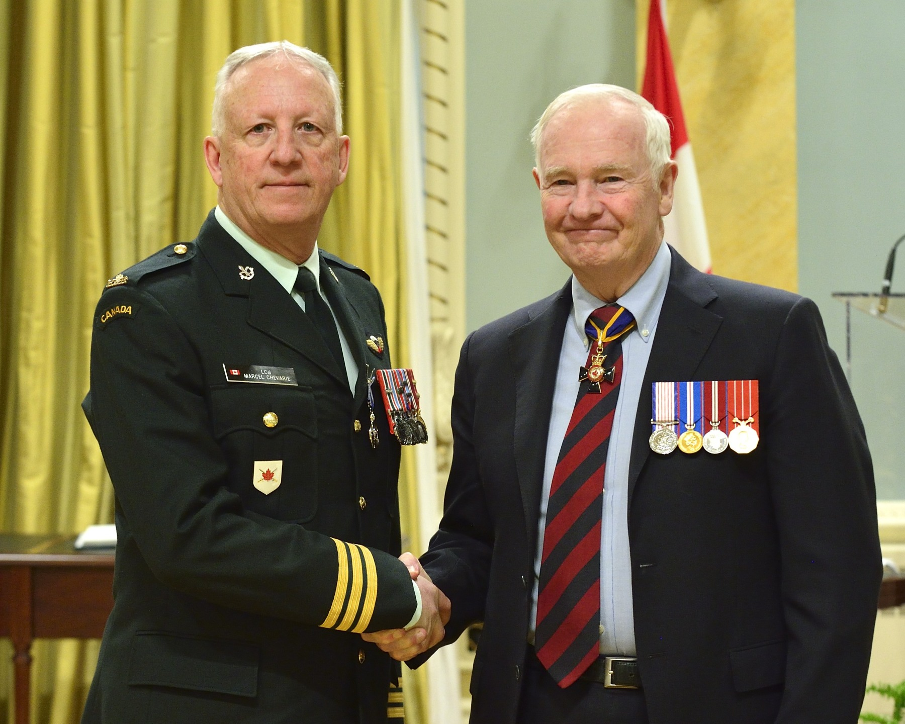 Lieutenant-Colonel Joseph Marcel Edmond Chevarie, M.S.M., C.D. (Cap-aux-Meules, Les Îles-de-la-Madeleine, Quebec) received the Meritorious Service Medal. As the commander of the 2nd Canadian Ranger Patrol Group since January 2010, Lieutenant-Colonel Chevarie distinguished himself through his unwavering promotion of the development, training and contribution of the Canadian Rangers, particularly the Junior Canadian Rangers. His vision and forward thinking helped the Canadian Rangers play a leading-edge role and enhanced their operational status, enabling them to perform their duties more effectively.