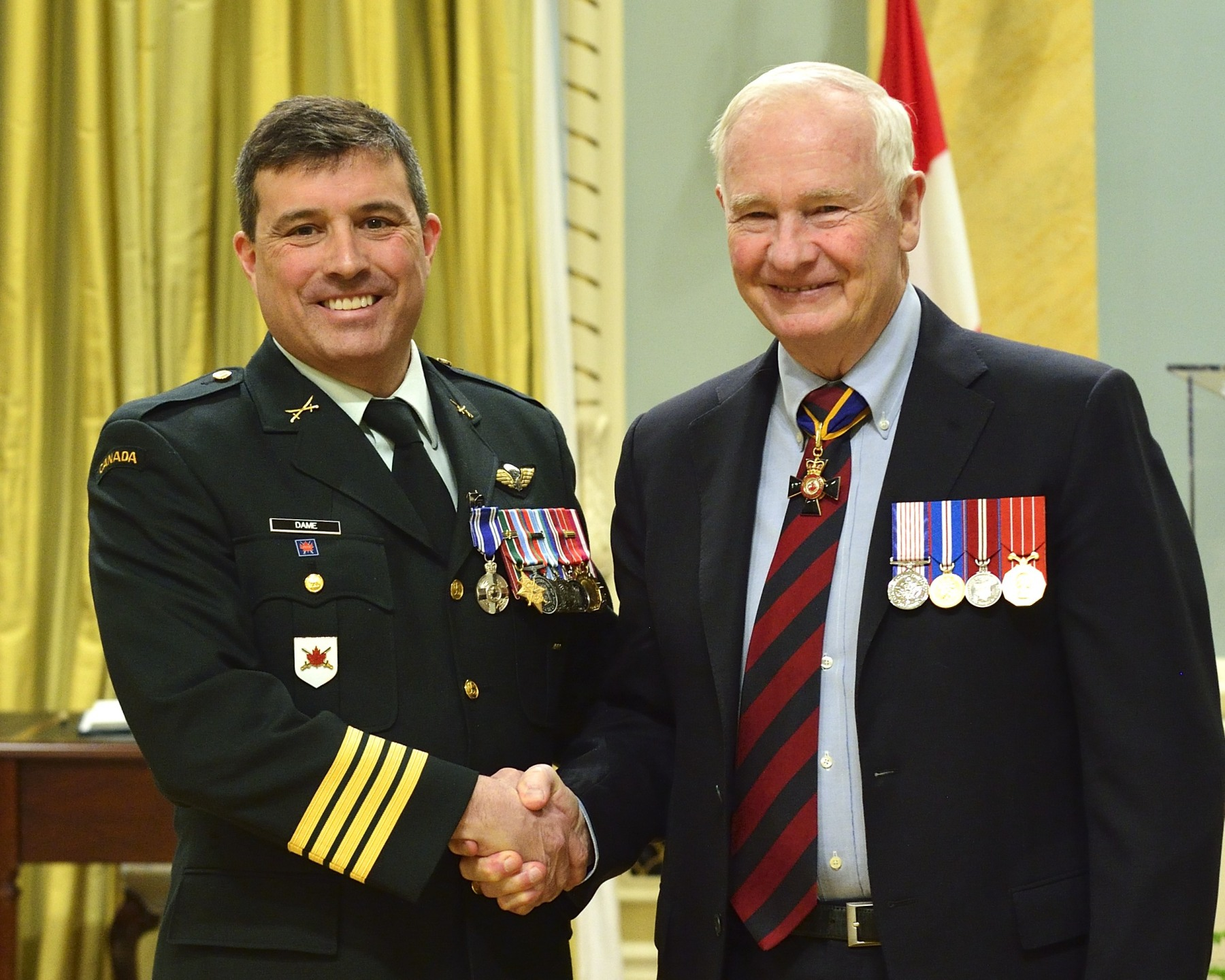 Colonel Grant Fernand Dame, M.S.M., C.D. (Montréal, Quebec) received the Meritorious Service Medal. From July 2010 to July 2011, while deployed to the United Nations Stabilization Mission in Haiti as chief of staff, Colonel Dame synchronized the efforts of over 9 000 UN personnel. Confronted with concurrent catastrophes of cholera, violence and severe weather, he nevertheless helped the mission achieve outstanding results, particularly in the areas of hurricane relief and security for the presidential elections. Colonel Dame's leadership and work ethic contributed directly to mission success and enhanced Canada's international reputation.