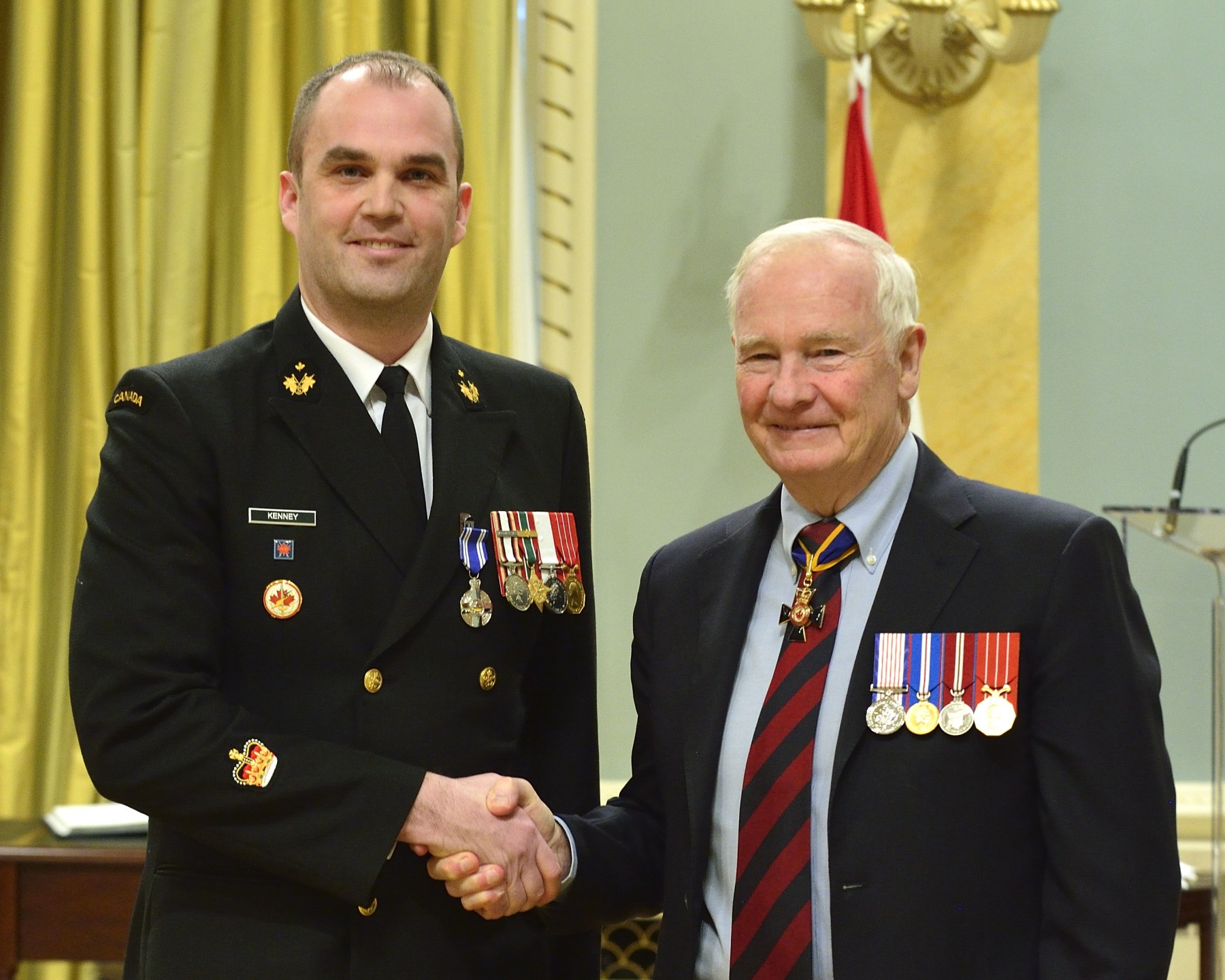 Petty Officer 1st Class Jeffery Kenney, M.S.M., C.D. (Yarmouth, Nova Scotia) received the Meritorious Service Medal. As the Signals Intelligence team leader from February to November 2012, Petty Officer 1st Class Kenney greatly contributed to improving protection for coalition forces operating within Kabul. He worked relentlessly to refine the tactics, techniques and procedures related to intelligence collection and dissemination. He also enhanced threat knowledge, and enabled the identification and interdiction of insurgent networks. Through these accomplishments, Petty Officer 1st Class Kenney established himself as a leader in his field and significantly bolstered the Canadian Armed Forces' reputation in Afghanistan.