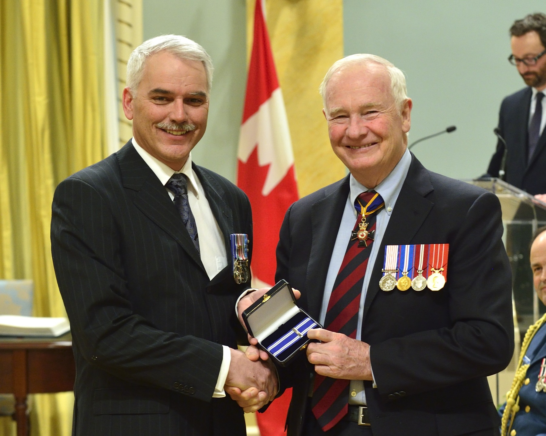 Colonel Jean François Riffou, M.S.M.*, C.D. (Québec, Quebec) received the Meritorious Service Medal, the second of his career. As the commander of Task Force Jerusalem from August 2011 to May 2012, Colonel Riffou led the Canadian contingent sent to support security sector reform of the Palestinian Authority. His extensive experience and intellectual capacity helped lay the foundation for major transformations within the organization of the United States Security Coordinator. His work helped to strengthen the role of the Canadian Armed Forces within the mission and to cement Canada's reputation as an important collaborator in the Middle East.