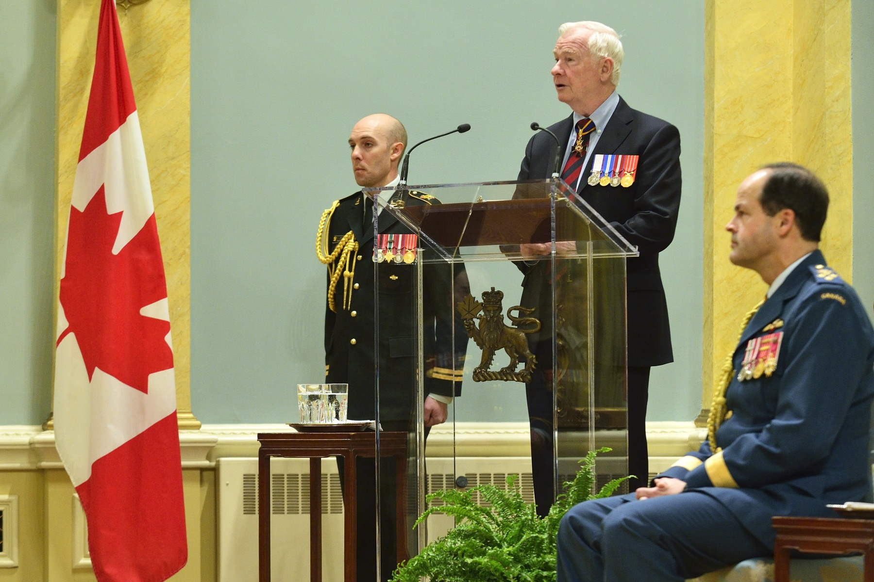 """Whenever I have met with members of the Forces, here at home or overseas, I am particularly struck by the importance they place on service,"" said the Governor General and Commander-in-Chief of Canada. ""You do so with little thought to your own safety, but plenty of thought for the safety of others. You are peacekeepers. You rebuild that which has been destroyed and preserve what is most precious to us. You defend our values and ideals. You leave behind family for months at a time because you know you are needed."""