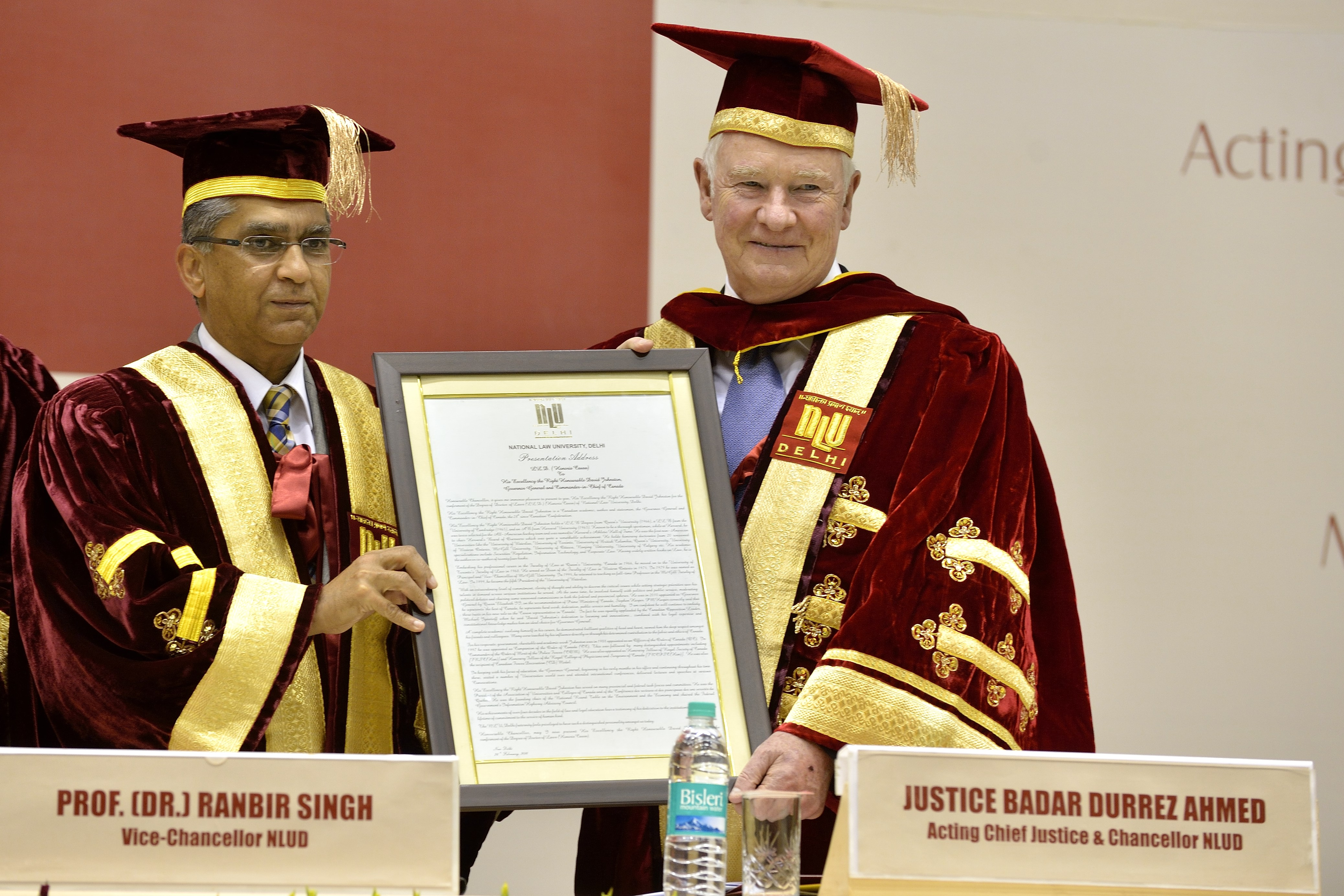 During a convocation ceremony at the National Law University, the Governor General was conferred with an honorary degree.