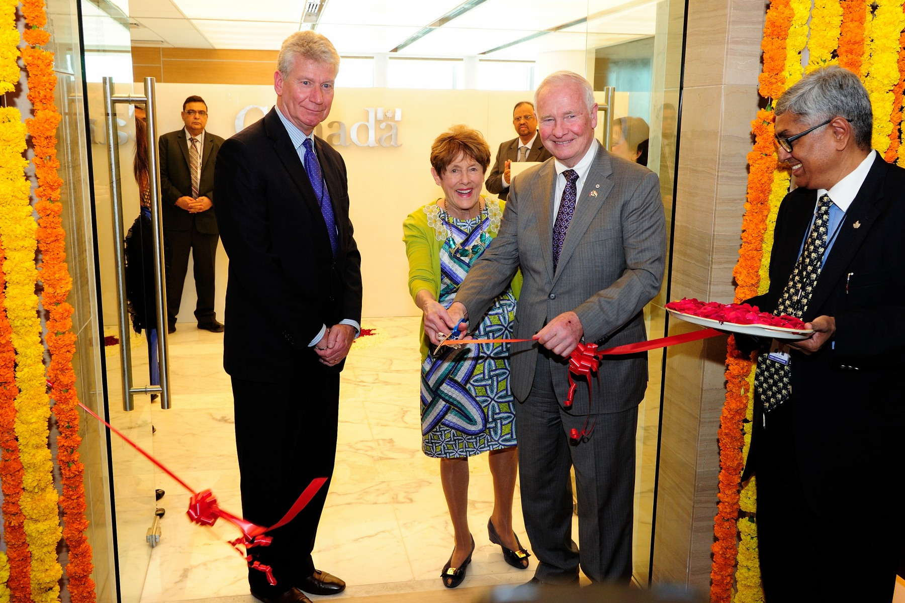 In the presence of Canadian High Commissioner Stewart Beck (left), Their Excellencies also inaugurated the new consulate general of Canada at the World Trade Centre, in Bangalore.