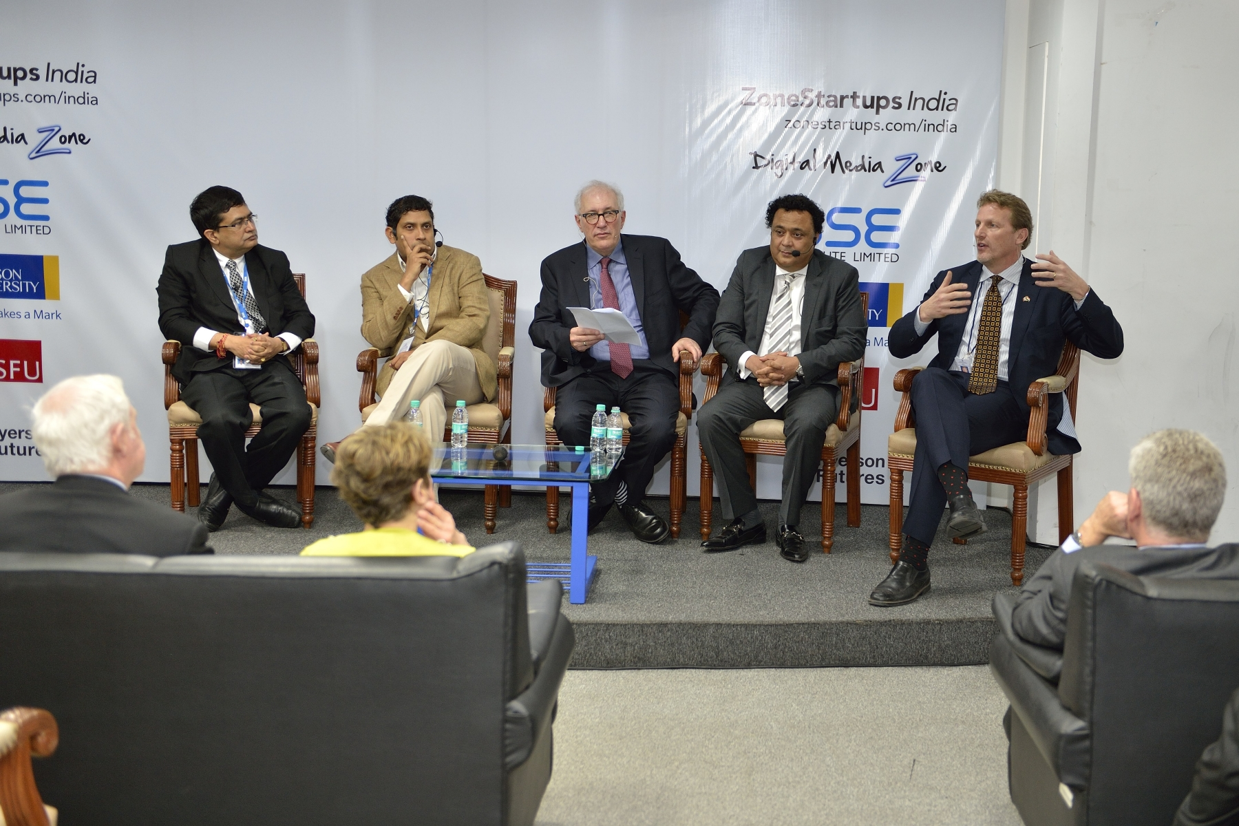 The Governor General and Sheldon Levy (centre), President and Vice-Chancellor of Ryerson University, then participated in a discussion on how to build an innovation ecosystem in India using the Canadian experience. Canadian delegate Peter van der Velden, Managing General Partner of Lumira Capital Investment Management and President of Canada's Venture Capital and Private Equity Association (right), participated in the discussion.