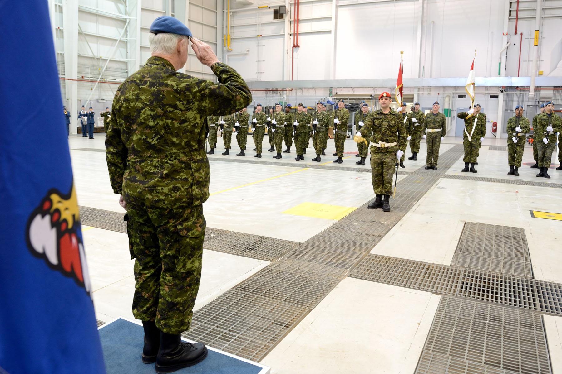 The Governor General inspected the guard of honour, which was comprised of 50 Canadian Armed Forces members from 4 Wing Cold Lake.