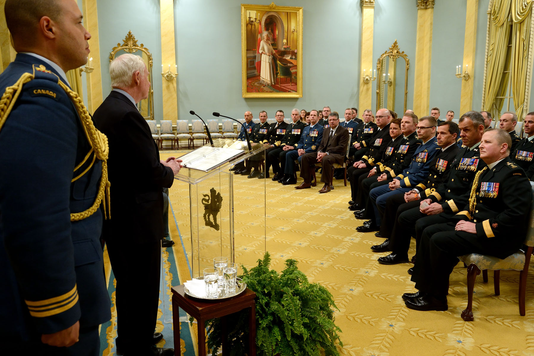The Governor General and Commander-in-Chief of Canada recognized the promotion of Canadian Armed Forces members during a Presentation of Scrolls Ceremony held at Rideau Hall.