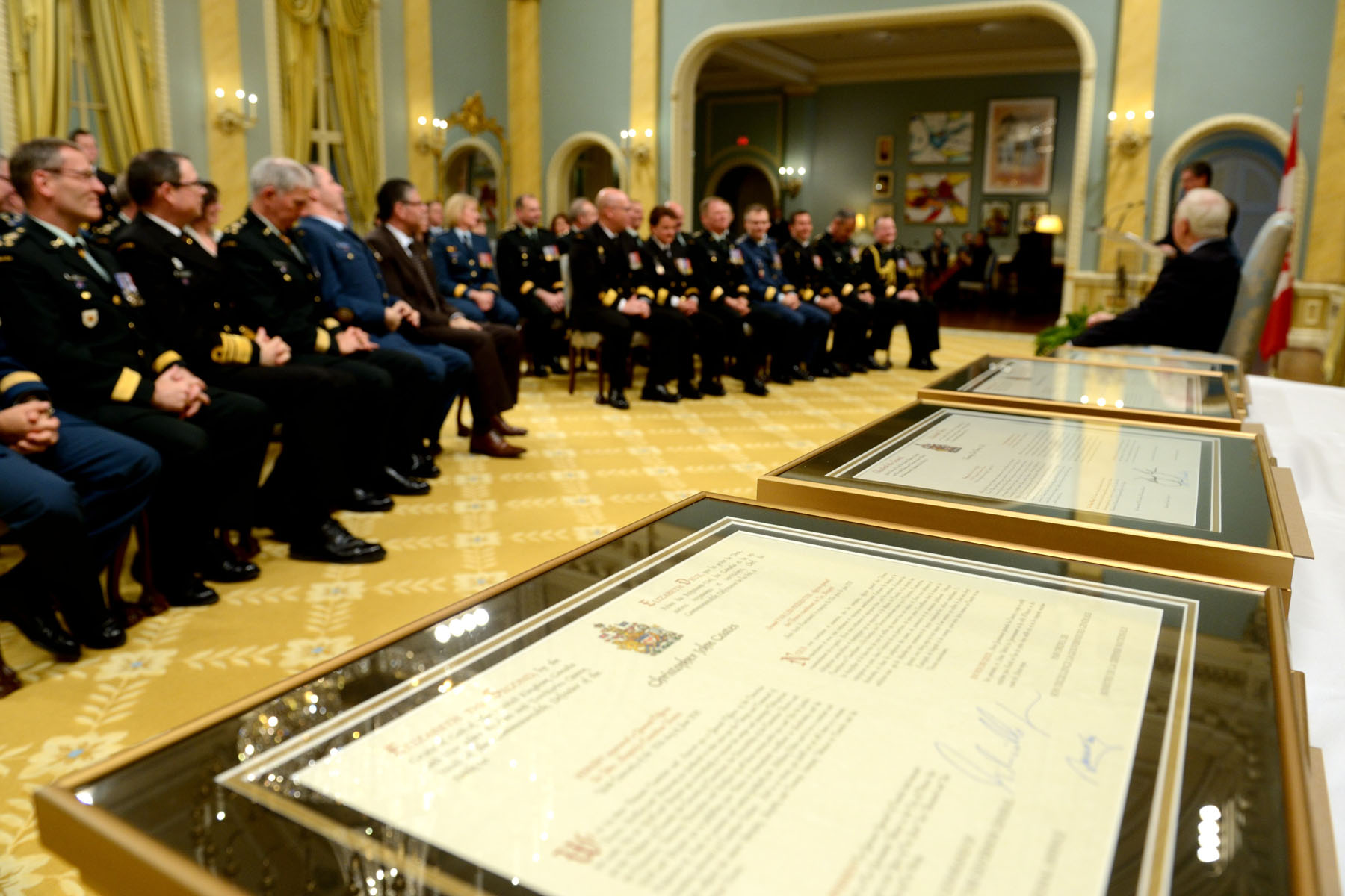 The members honoured during the ceremony were promoted to the rank of general or flag officer.