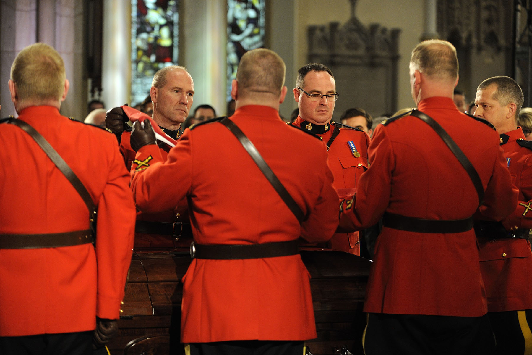 RCMP pallbearers carried former finance minister Jim Flaherty's casket.