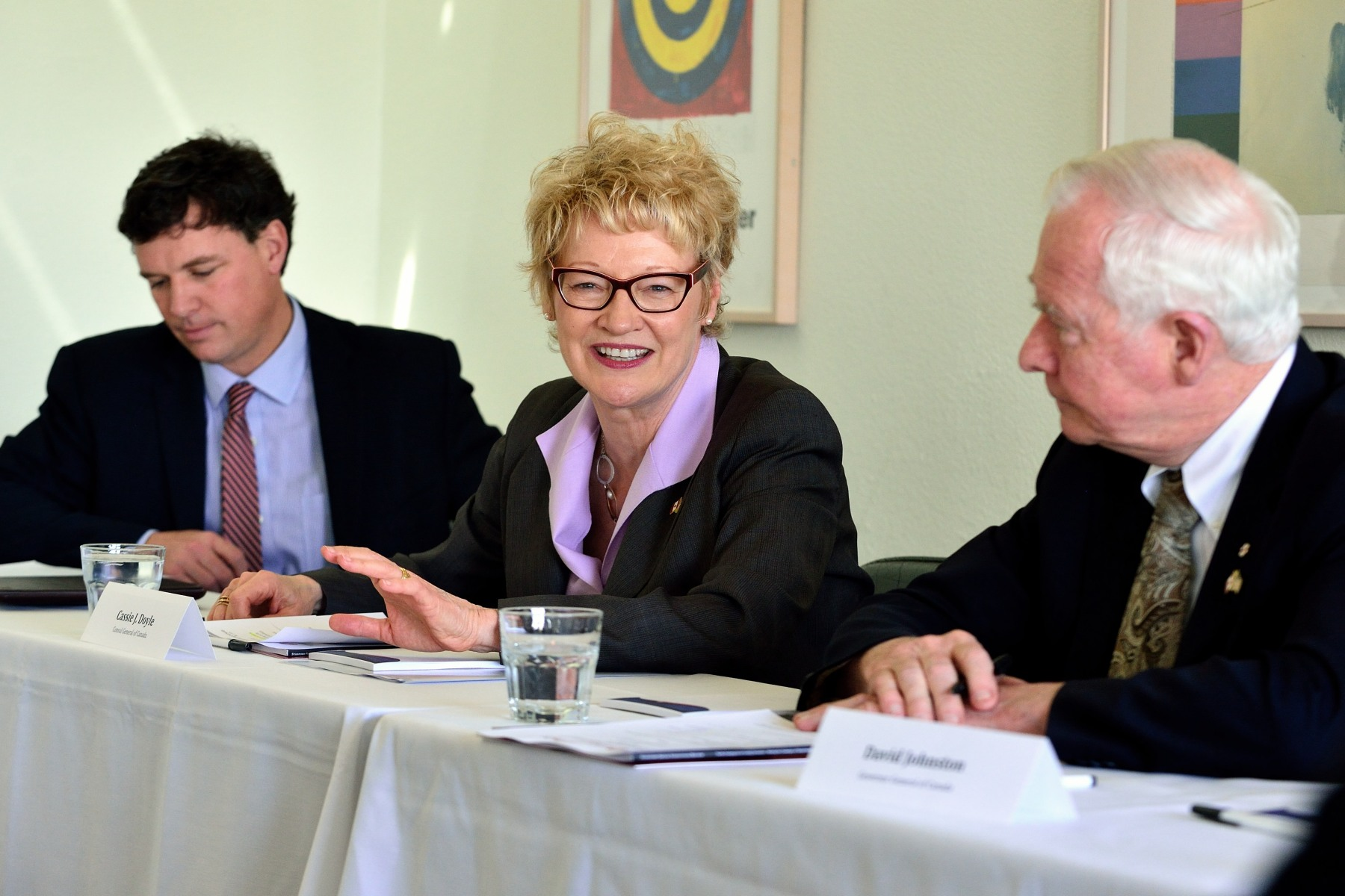 The Governor General, joined by Cassie Doyle, Consul General of Canada (centre), and Ian Bird, President of Community Foundations of Canada (left), discussed  efforts to increase philanthropic funding in the United States and how it might serve as a model for increasing philanthropy in Canada with representatives from the Stanford Center on Philanthropy and Civil Society (Stanford PACS) and other American organizations.