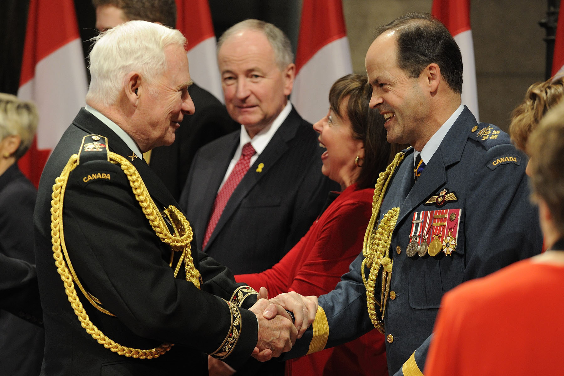 Rob Nicholson, Minister of National Defence (middle), and General Thomas J. Lawson, Chief of the Defence Staff (right) also attended the event.
