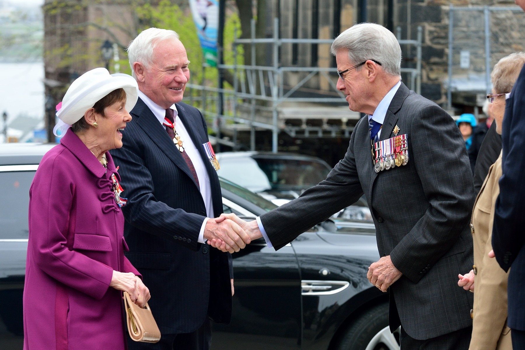 Their Excellencies were greeted by His Honour Brigadier-General The Honourable J.J. Grant (Ret'd), Lieutenant Governor of Nova Scotia, upon their arrival at Grand Parade, in Halifax, for the official welcoming ceremony.