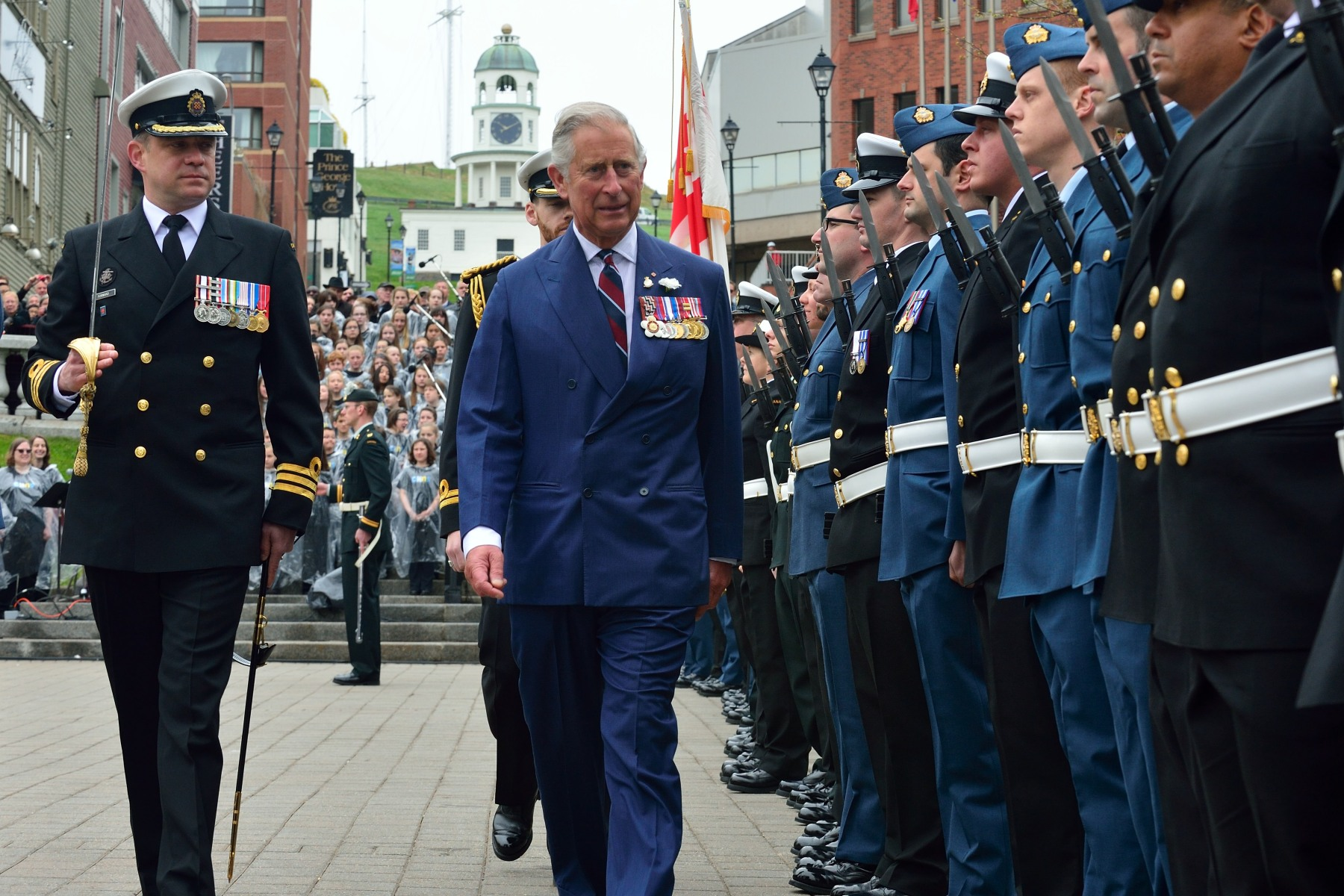 The ceremony featured full military honours including a 21-gun salute and the breaking of His Royal Highness's Canadian Flag.