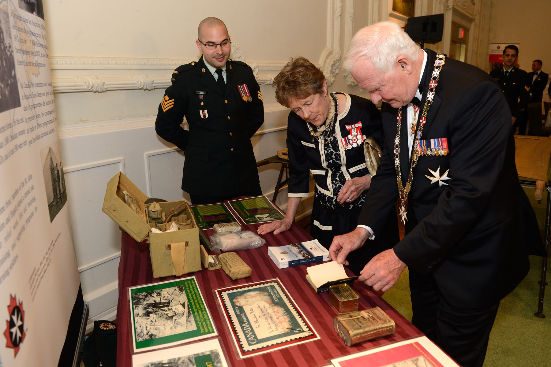 Their Excellencies toured a modern-day military first aid post and a display commemorating St. John Ambulance's contributions during the First World War.