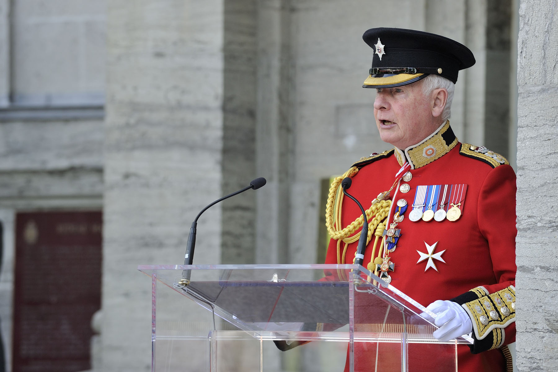 """You are part of a strong tradition of service to Canada. Every aspect of your dress and deportment exudes Canadian heritage and history, and through you, we see an image of ourselves and of our country. As commander-in-chief of Canada, I am proud to wear the uniform and to serve as colonel of two of the regiments that form your ranks: the Canadian Grenadier Guards and the Governor General's Foot Guards."""