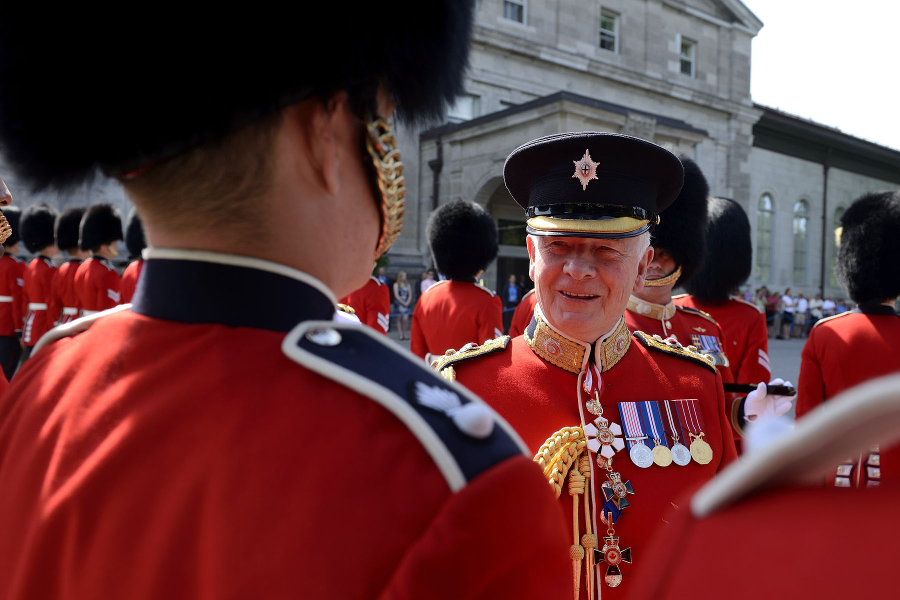 During the inspection, His Excellency said a few words to some members of the Ceremonial Guard.