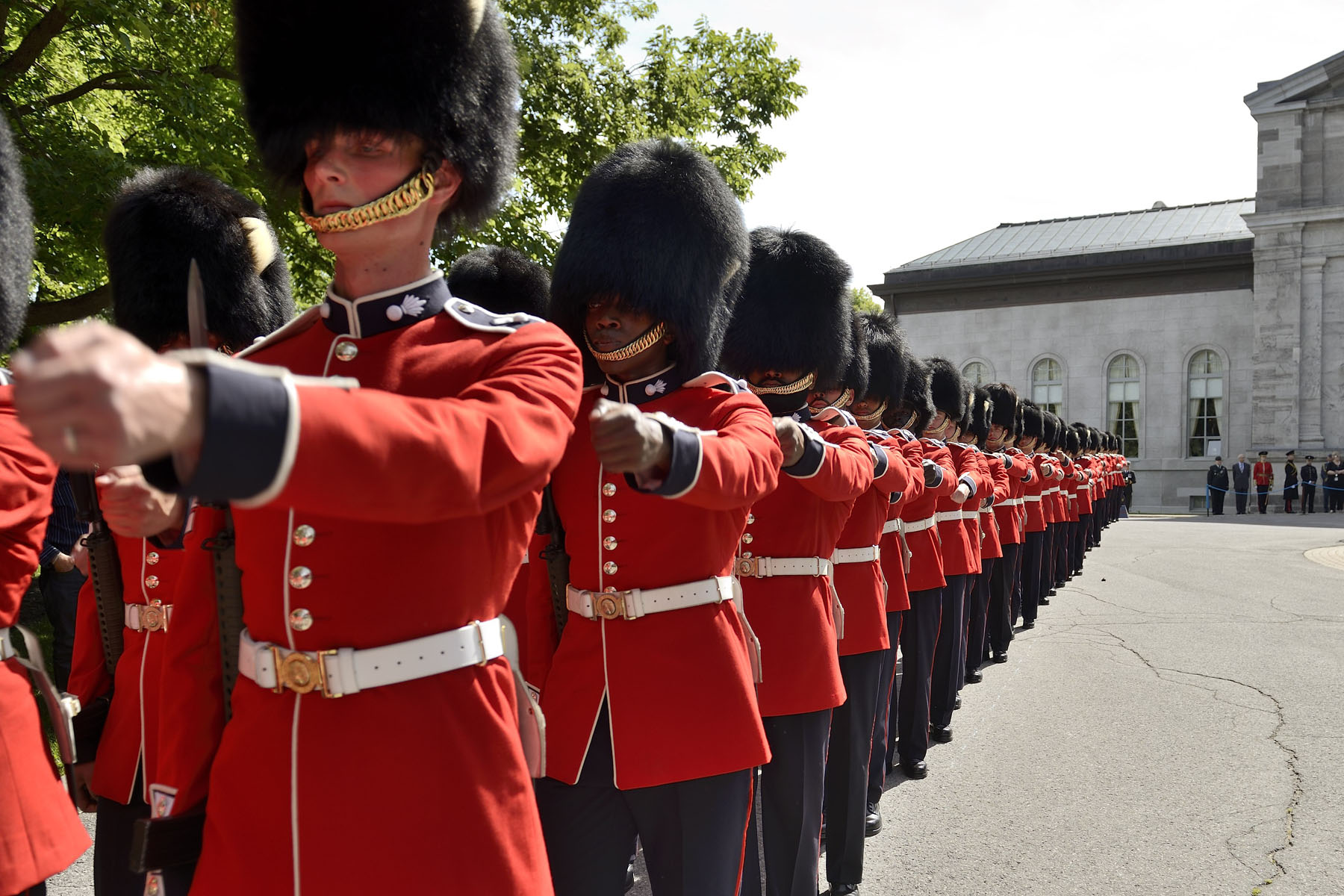 During the Relief of the Sentries, which runs, every hour, on the hour, from 9 a.m. to 5 p.m., all days during Summer, Sentries march to their posts in front of Rideau Hall and at Sussex Gate.