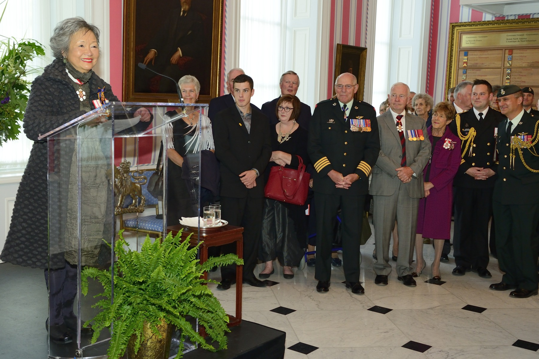 The Right Honourable Adrienne Clarkson, Colonel-in-Chief of the PPCLI and 26th governor general of Canada, also delivered remarks to former and current members of the PPCLI in the Tent Room. Mrs. Adrienne Clarkson became the first Canadian Colonel-in-Chief of PPCLI on March 17, 2007.