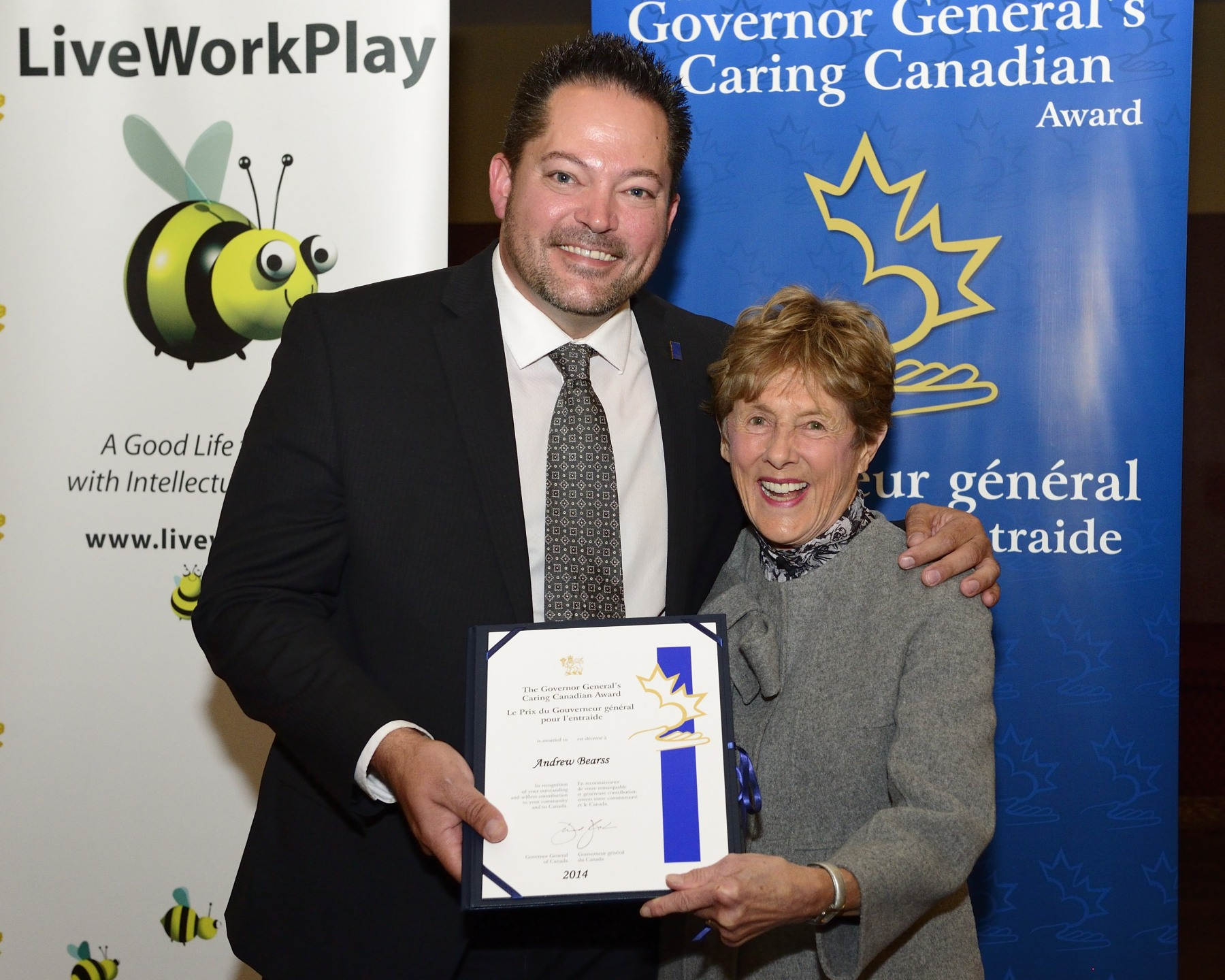 Her Excellency presented Mr. Andrew Bearss with a Caring Canadian Award. Mr. Bearss has volunteered tirelessly on behalf of LiveWorkPlay as an employer champion, encouraging business owners to hire people with intellectual disabilities. From his efforts alone, numerous individuals with limited prospects for employment are now happily working and contributing to the community.