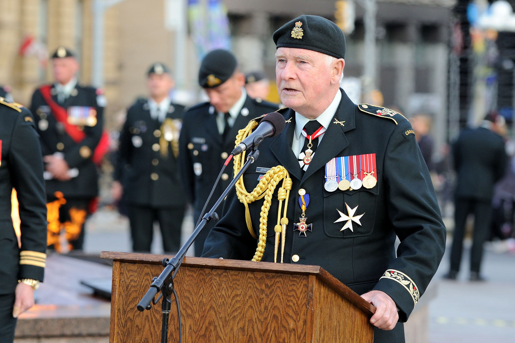 """I am honoured to be with all of you here on Parliament Hill for this celebration of two regiments that have played a vital role in our country's history: Princess Patricia's Canadian Light Infantry and the Royal 22e Régiment. You may have different backgrounds—an infantry whose original soldiers were primarily of British descent, and the first all-French regiment in Canada—but you have much in common. You both fight for the same causes, and protect our nation, our people, our ideals and our freedoms,"" said His Excellency."