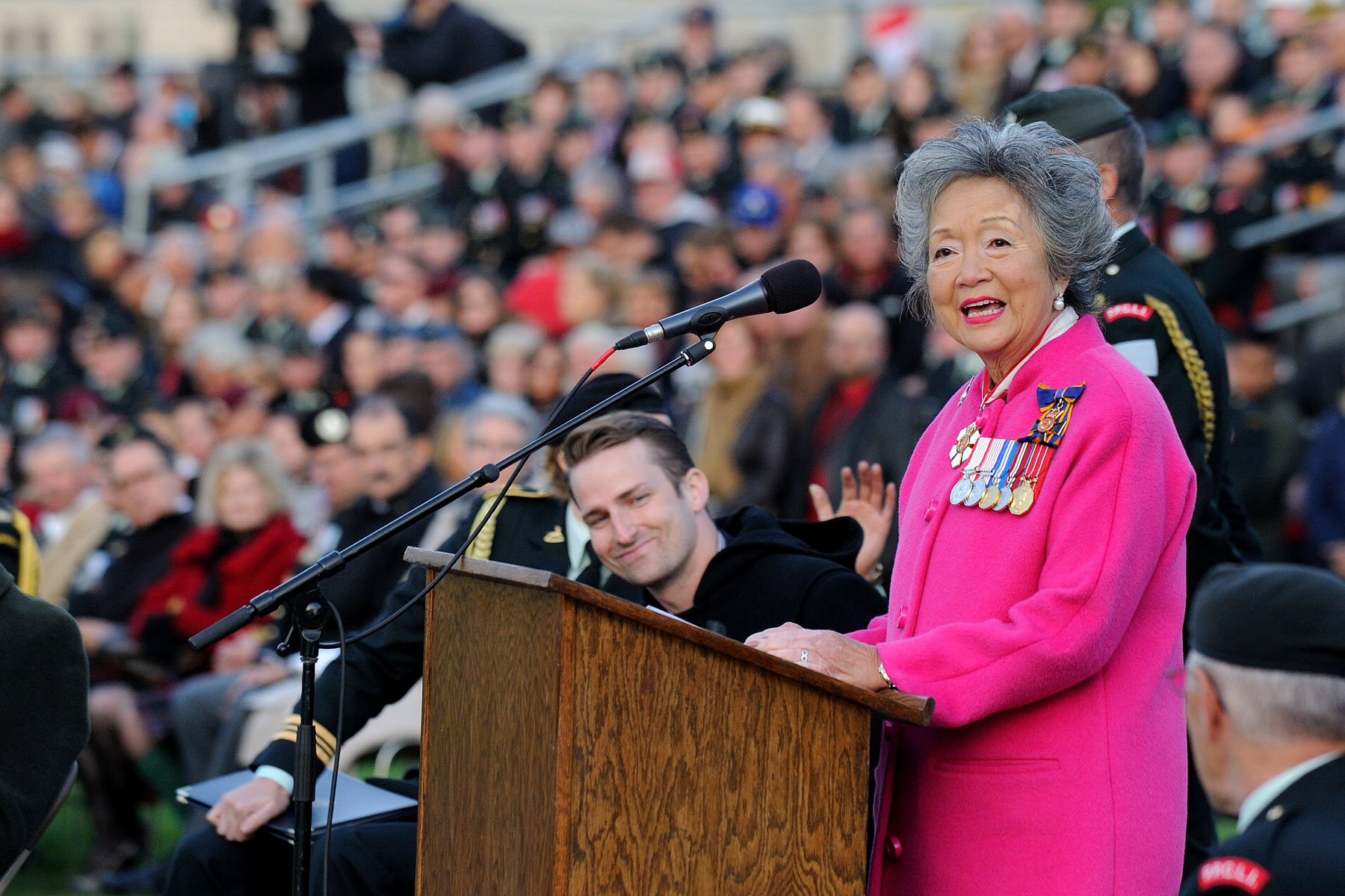 The Right Honourable Adrienne Clarkson, Colonel-in-Chief of the PPCLI and 26th governor general of Canada, addressed her troops.