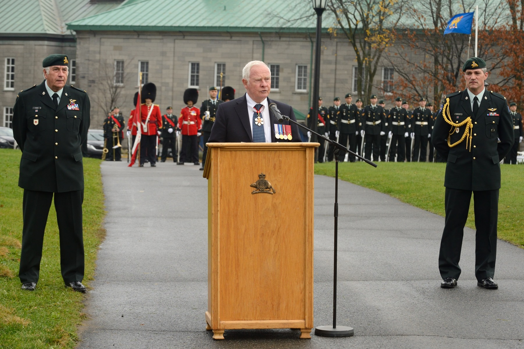 """General Vanier truly was a great Canadian,"" said His Excellency. ""He dedicated his life to this country, and throughout his long and eventful career he and his beloved wife Pauline strengthened Canada in countless ways. It is so appropriate to see this statue placed here at the Citadelle, official vice-regal residence, home of the Royal 22e Régiment, and one of the most historically significant sites in Canada."""