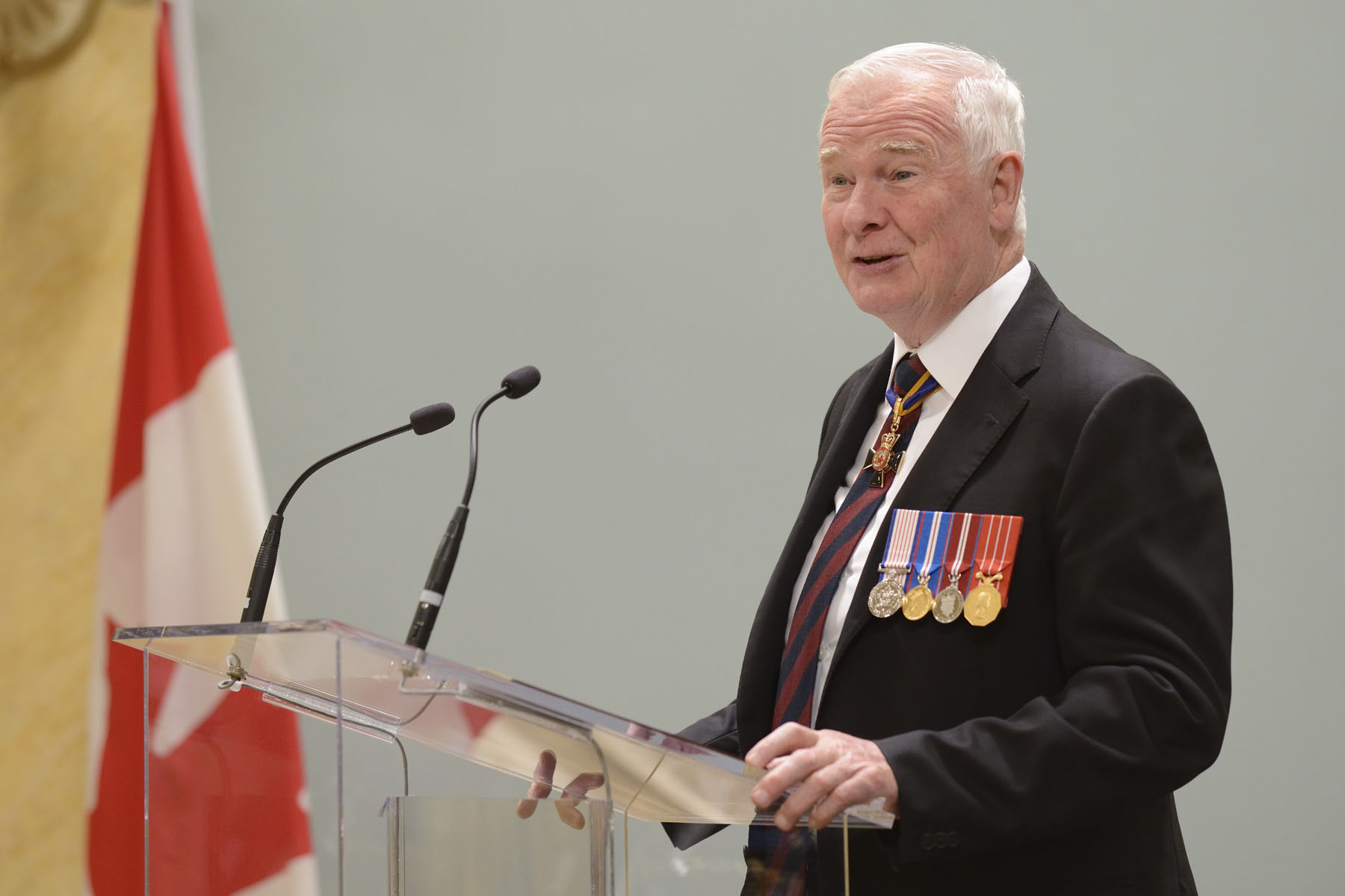 His Excellency the Right Honourable David Johnston, Governor General and Commander-in-Chief of Canada and patron of The Royal Canadian Legion, hosted the 2014 National Poppy Campaign ceremony at Rideau Hall on October 21, 2014.