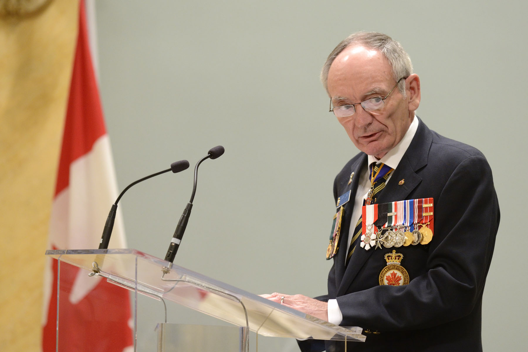 Le grand président de la Légion royale canadienne, Larry Murray, a pris la parole.