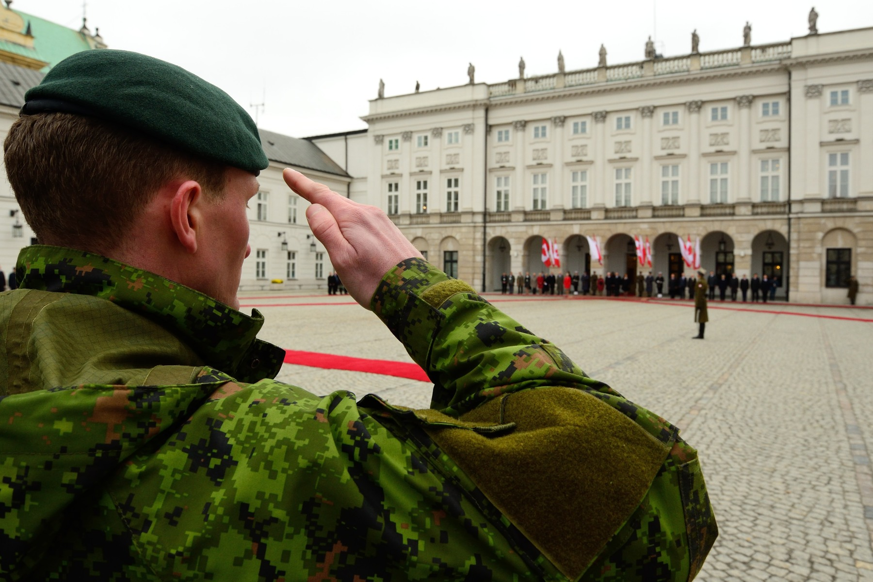 Canadian troops currently training in Poland as part of the North Atlantic Treaty Organization (NATO) reassurance measures were also present.
