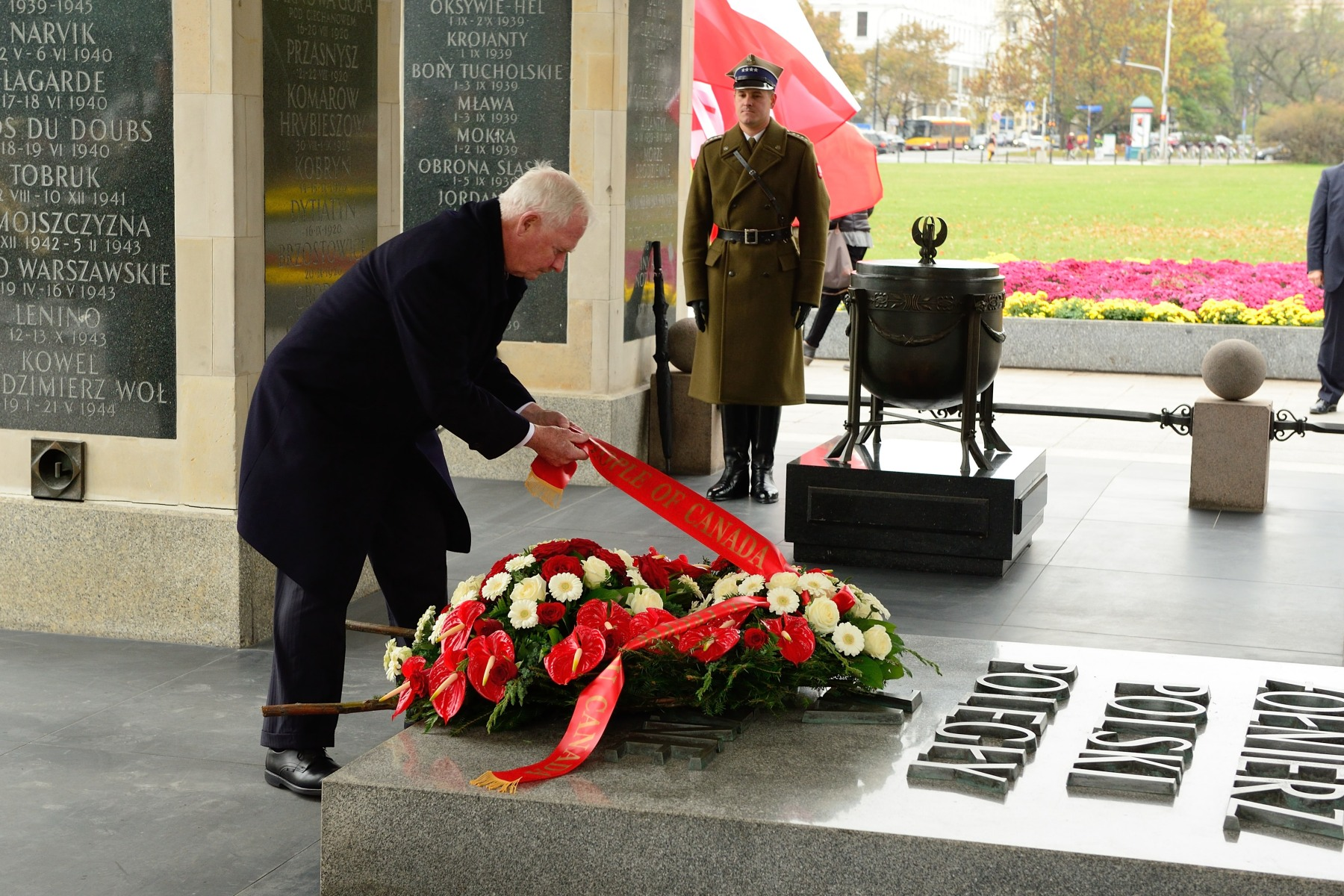 The Tomb of the Unknown Soldier was erected at Pilsudski Square, the largest square of Warsaw, on top of the underground foundations of the Saxon Palace, which was destroyed in World War II.
