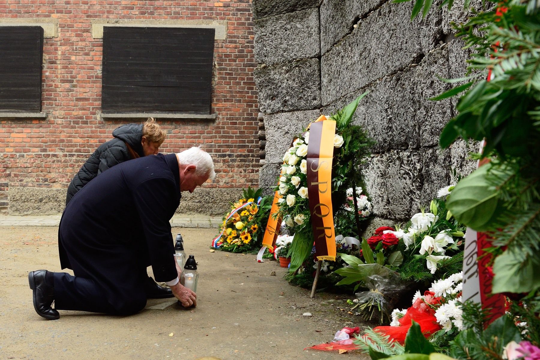 Their Excellencies laid flowers at the Wall of Death.