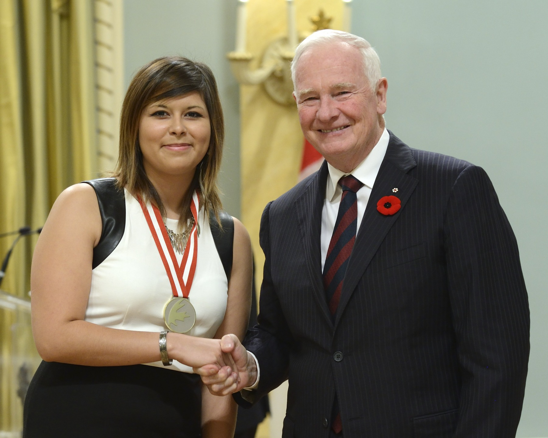 Mercedes Sandy, of Christian Island, Ontario, received the award for Aboriginal Arts & Stories.