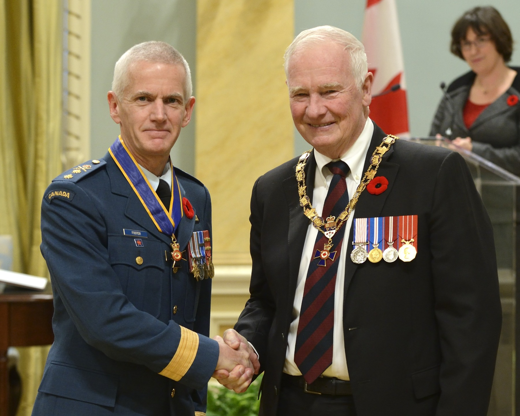 His Excellency presented the Order of Military Merit at the Commander level (C.M.M.) to Major-General Richard Foster, C.M.M., C.D., Office of the Chief of the Air Force Staff, Ottawa, Ontario.