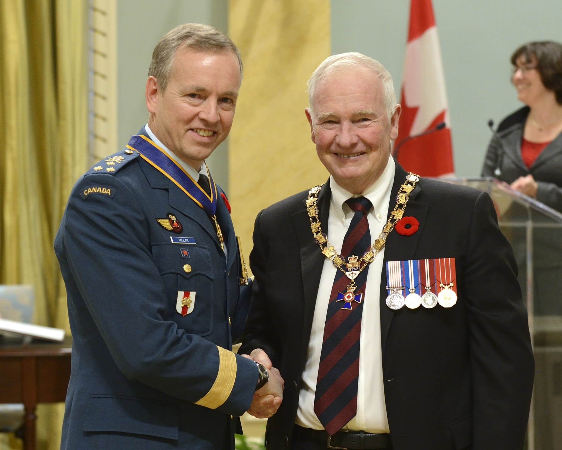 His Excellency presented the Order of Military Merit at the Commander level (C.M.M.) to Major-General David Millar, C.M.M., C.D., Chief of Military Personnel, Ottawa, Ontario. This is a promotion within the Order.