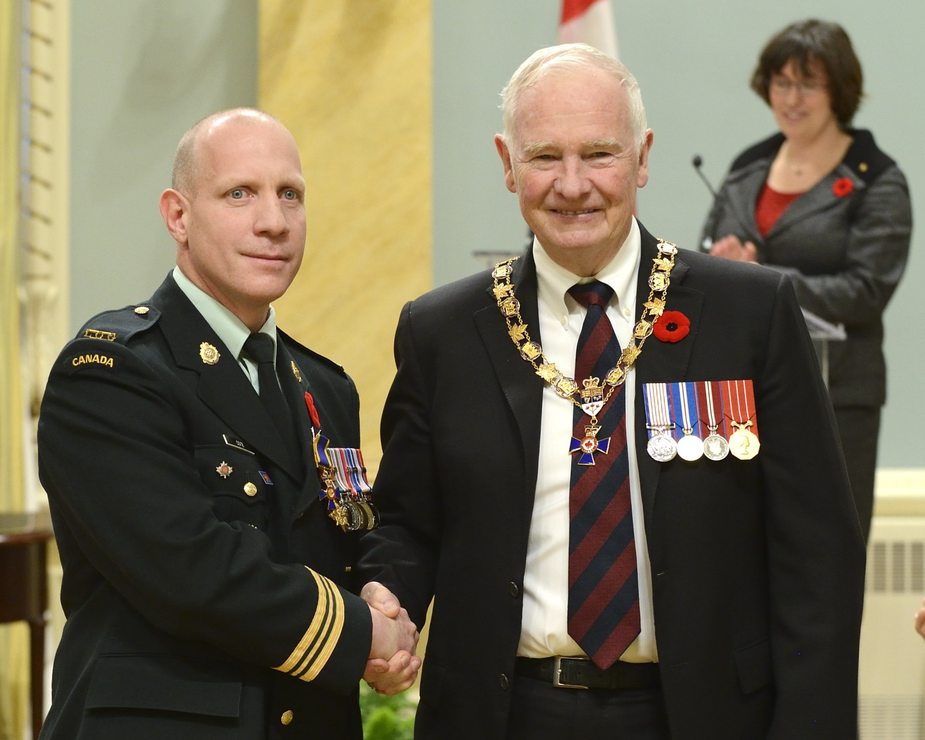 His Excellency presented the Order of Military Merit at the Officer level (O.M.M.) to Major Charles Côté, O.M.M., C.D., North American Aerospace Defence Command Outside Canada, Colorado Springs, Colorado, United States of America.