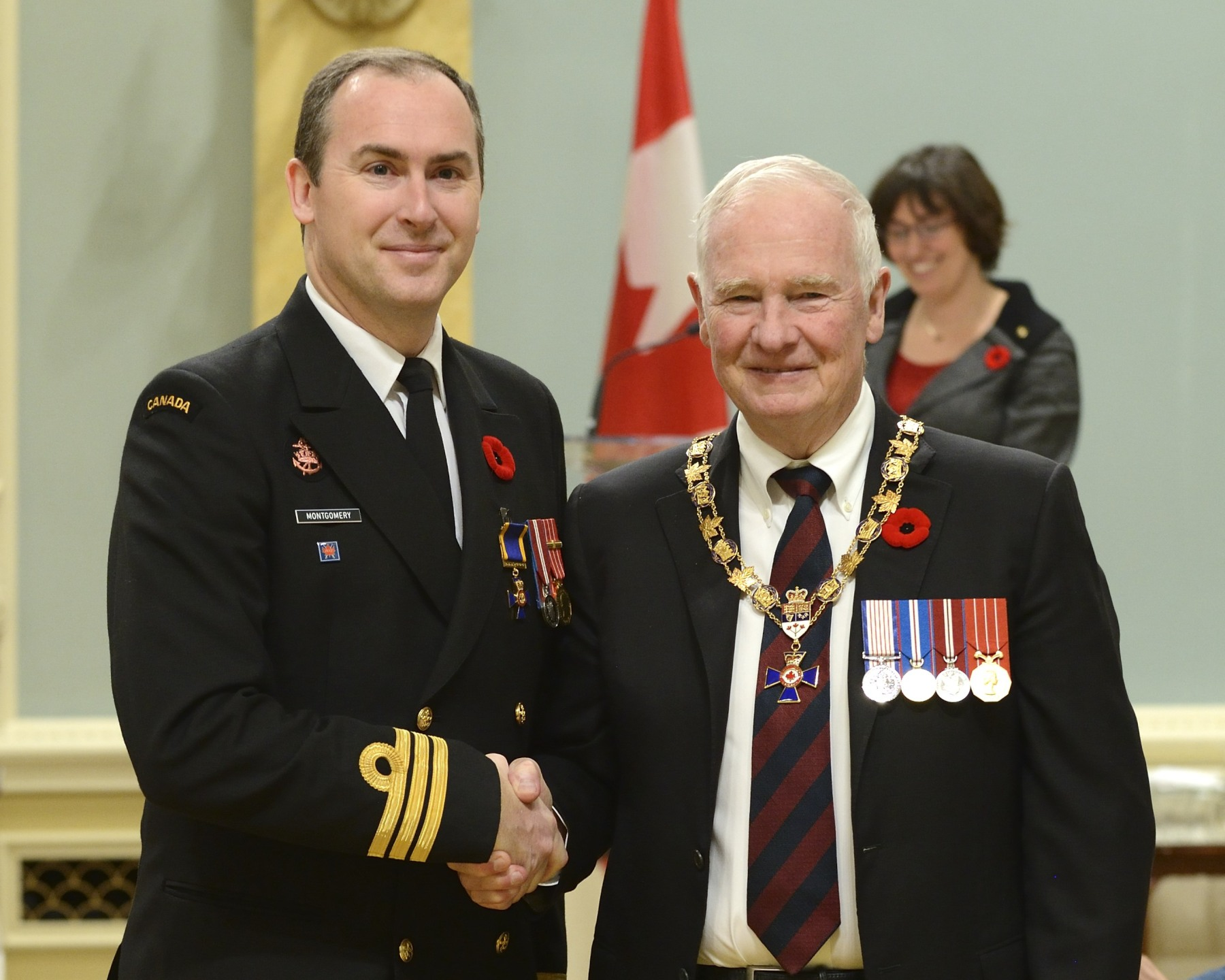 His Excellency presented the Order of Military Merit at the Officer level (O.M.M.) to Commander Patrick Montgomery, O.M.M., C.D., Canadian Fleet Pacific Headquarters, Victoria, British Columbia.