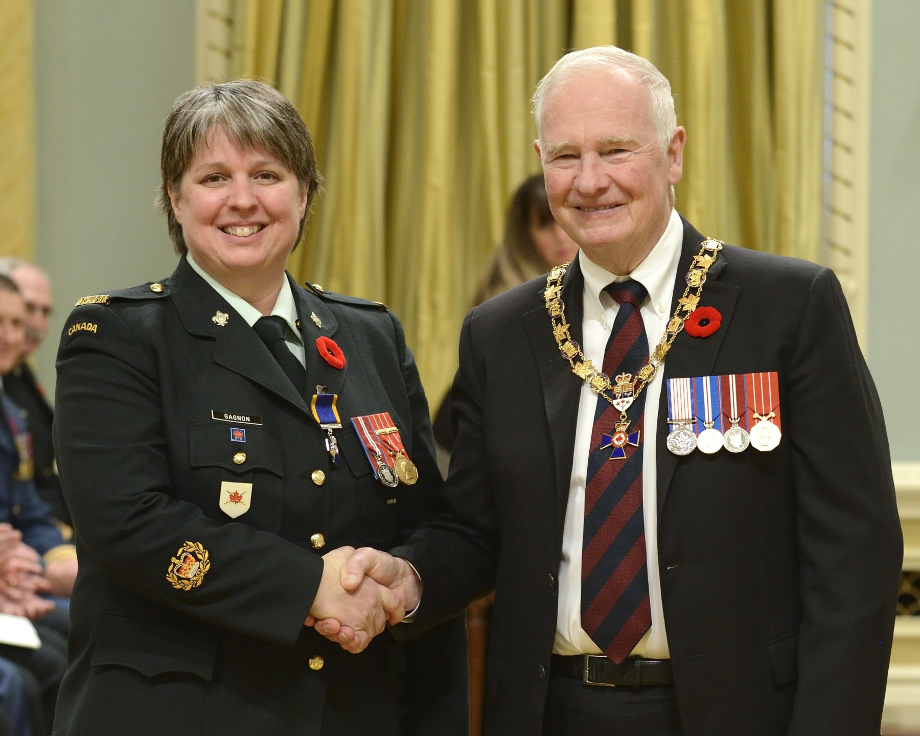 His Excellency presented the Order of Military Merit at the Member level (M.M.M.) to Master Warrant Officer Chantale Gagnon, M.M.M., C.D., 2 Canadian Division Headquarters, Montréal, Quebec.