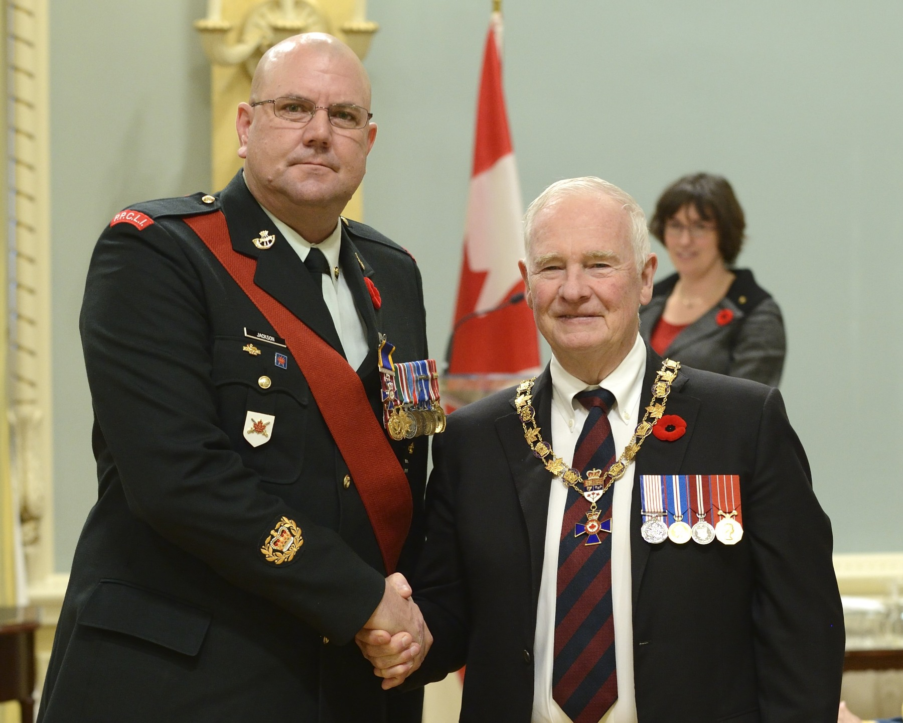 His Excellency presented the Order of Military Merit at the Member level (M.M.M.) to Master Warrant Officer Michael Jackson, M.M.M., M.M.V., C.D., 2nd Battalion, Princess Patricia's Canadian Light Infantry, Shilo, Manitoba.