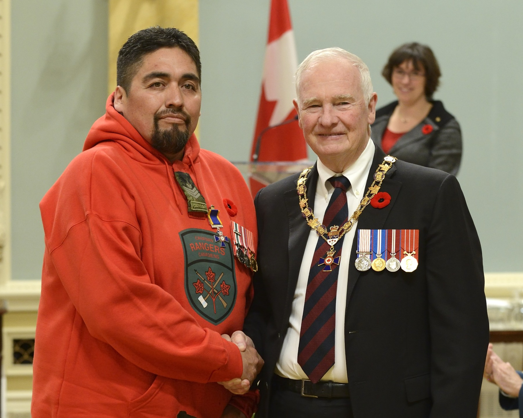 His Excellency presented the Order of Military Merit at the Member level (M.M.M.) to Sergeant Christopher Kataquapit, M.M.M., 3rd Canadian Ranger Patrol Group, Borden, Ontario.