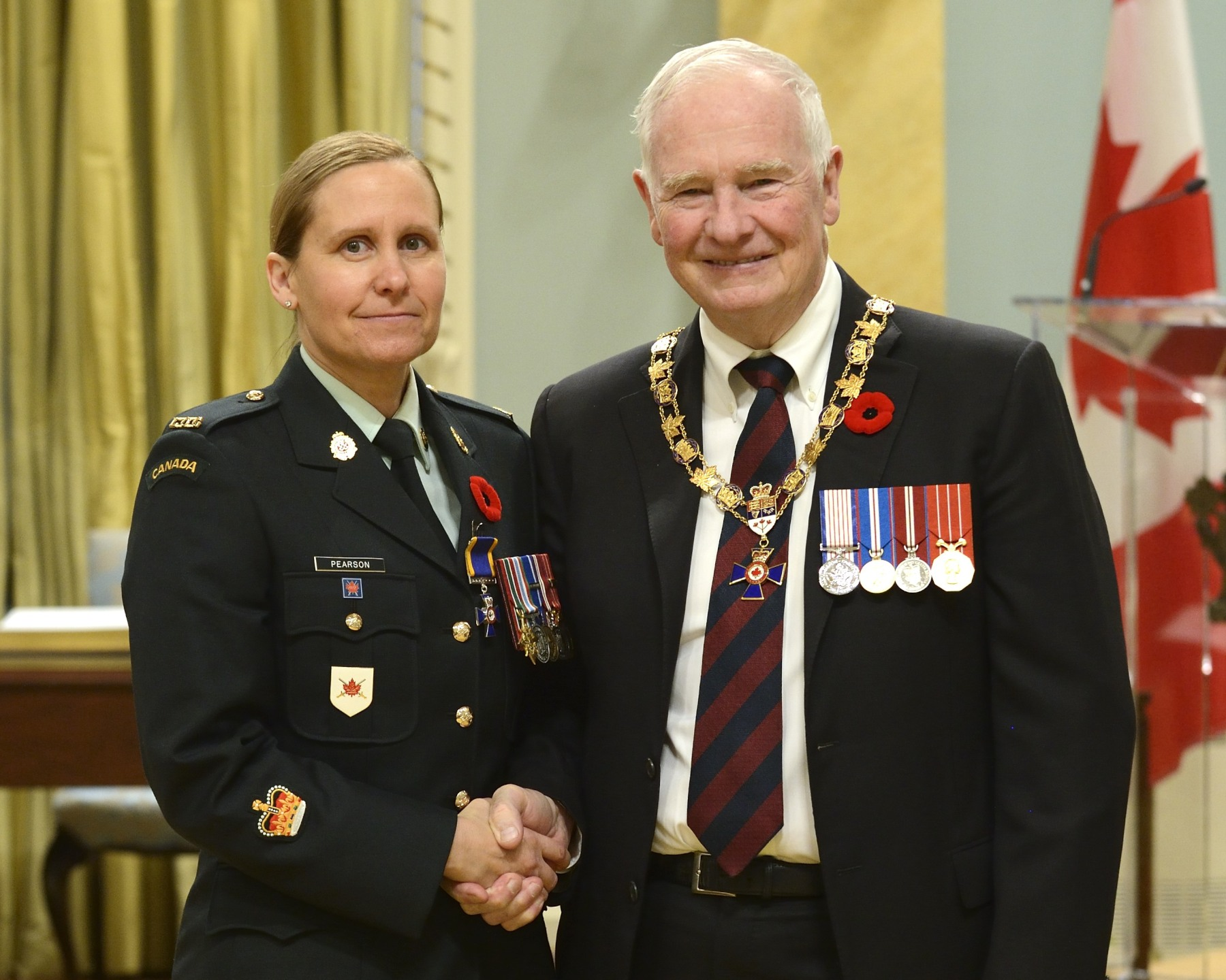 His Excellency presented the Order of Military Merit at the Member level (M.M.M.) to Warrant Officer Melinda Pearson, M.M.M., C.D., 32 Canadian Brigade Group Headquarters, Toronto, Ontario.