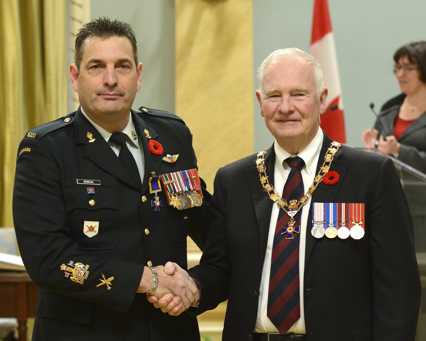 His Excellency presented the Order of Military Merit at the Member level (M.M.M.) to Chief Warrant Officer Jean-Claude Sénécal, M.M.M., C.D., 4th Air Defence Regiment, Royal Canadian Artillery