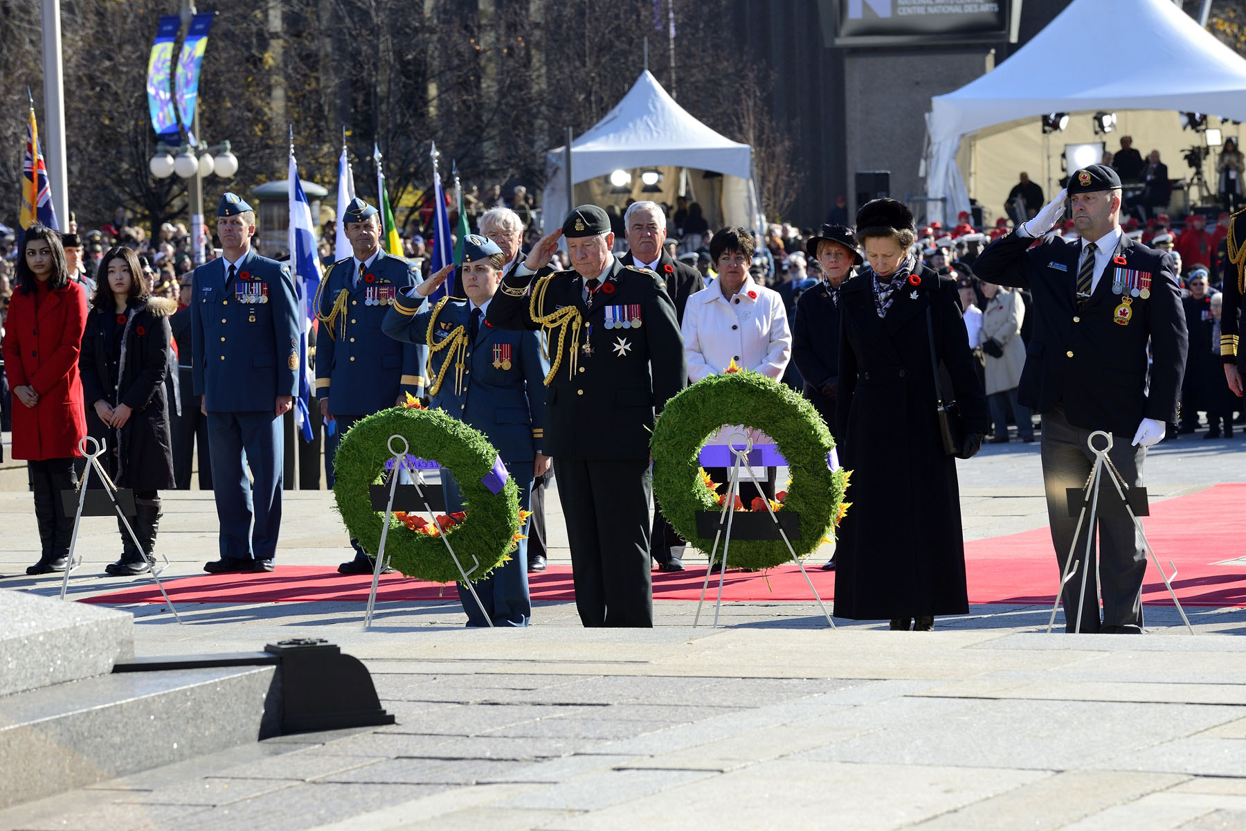 His Excellency and Her Royal Highness The Princess Royal laid wreaths of flowers.