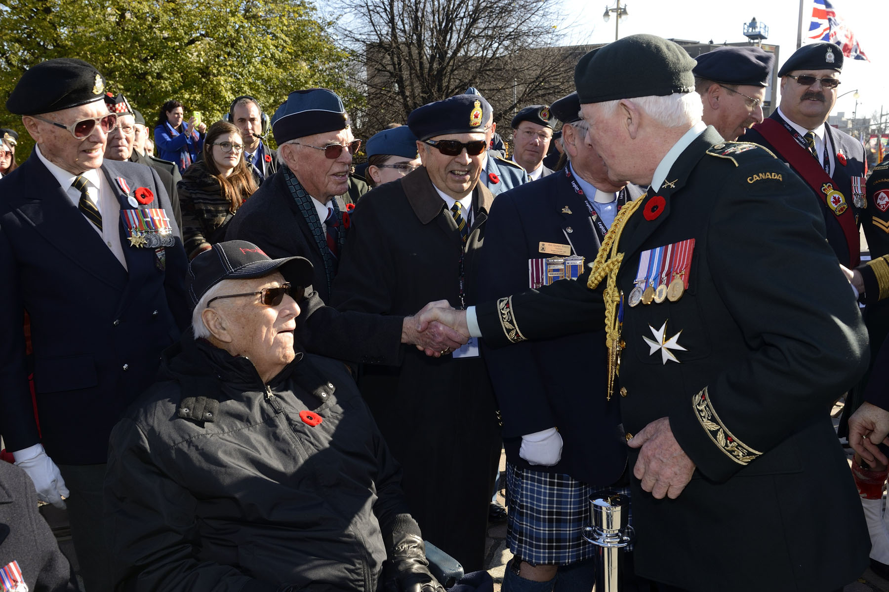 The Governor General and Commander-in-Chief shook the hands of veterans.