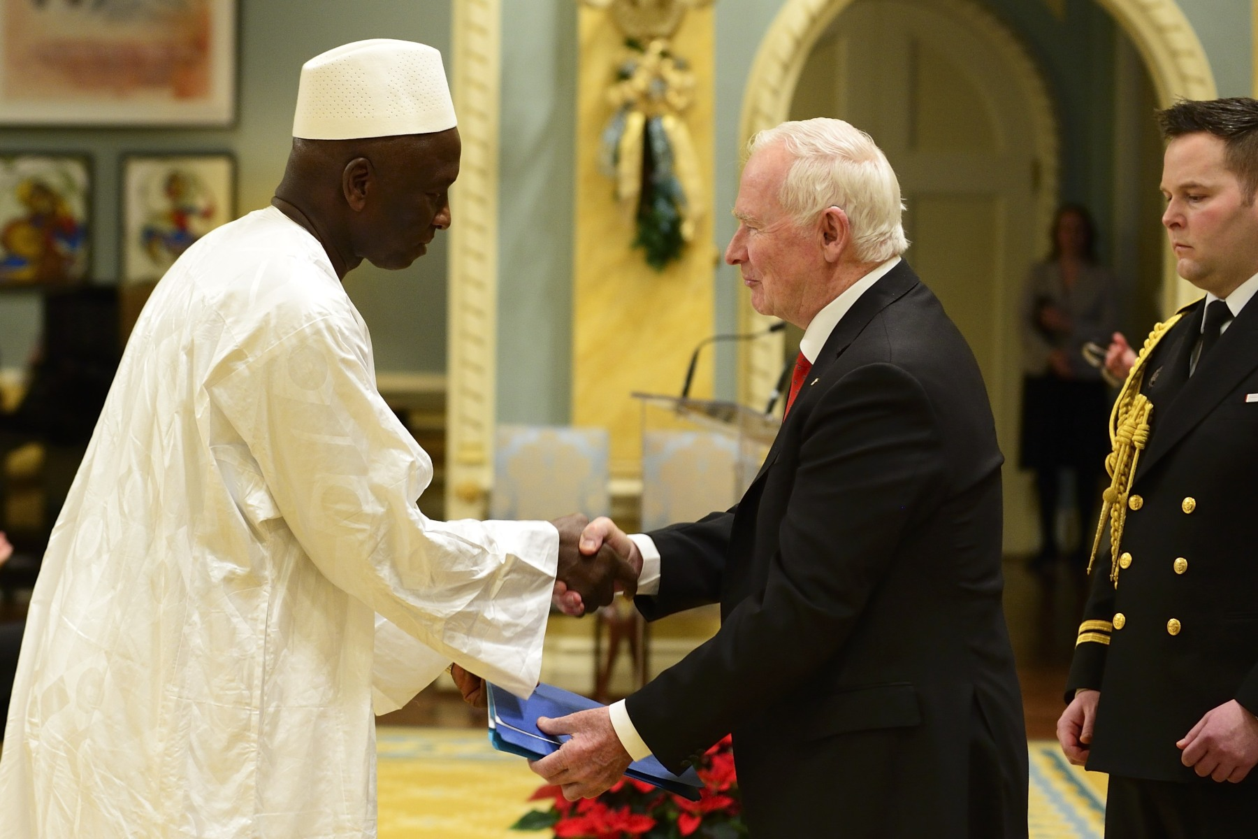 The Governor General then received the letters of credence of His Excellency Saramady Touré, Ambassador of the Republic of Guinea.